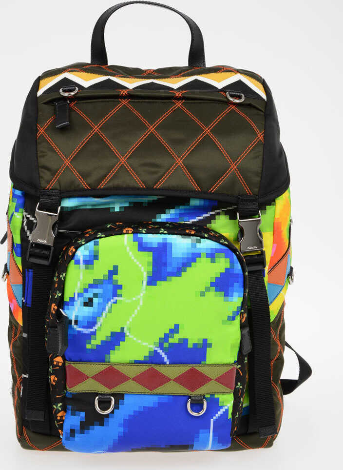 Prada Printed Nylon Backpack with Leather Details MULTICOLOR