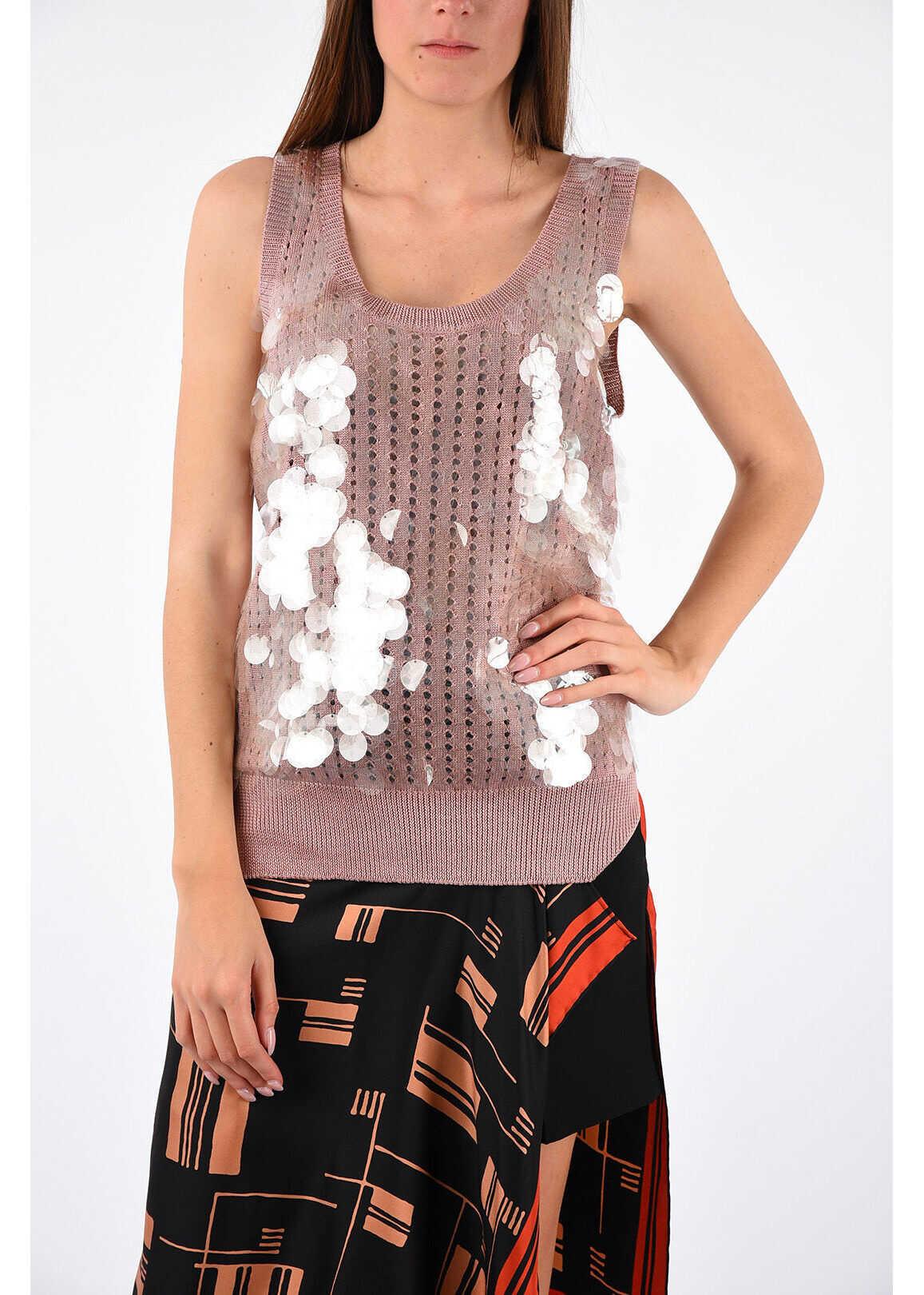 Bottega Veneta Sequin Knitted Top PINK