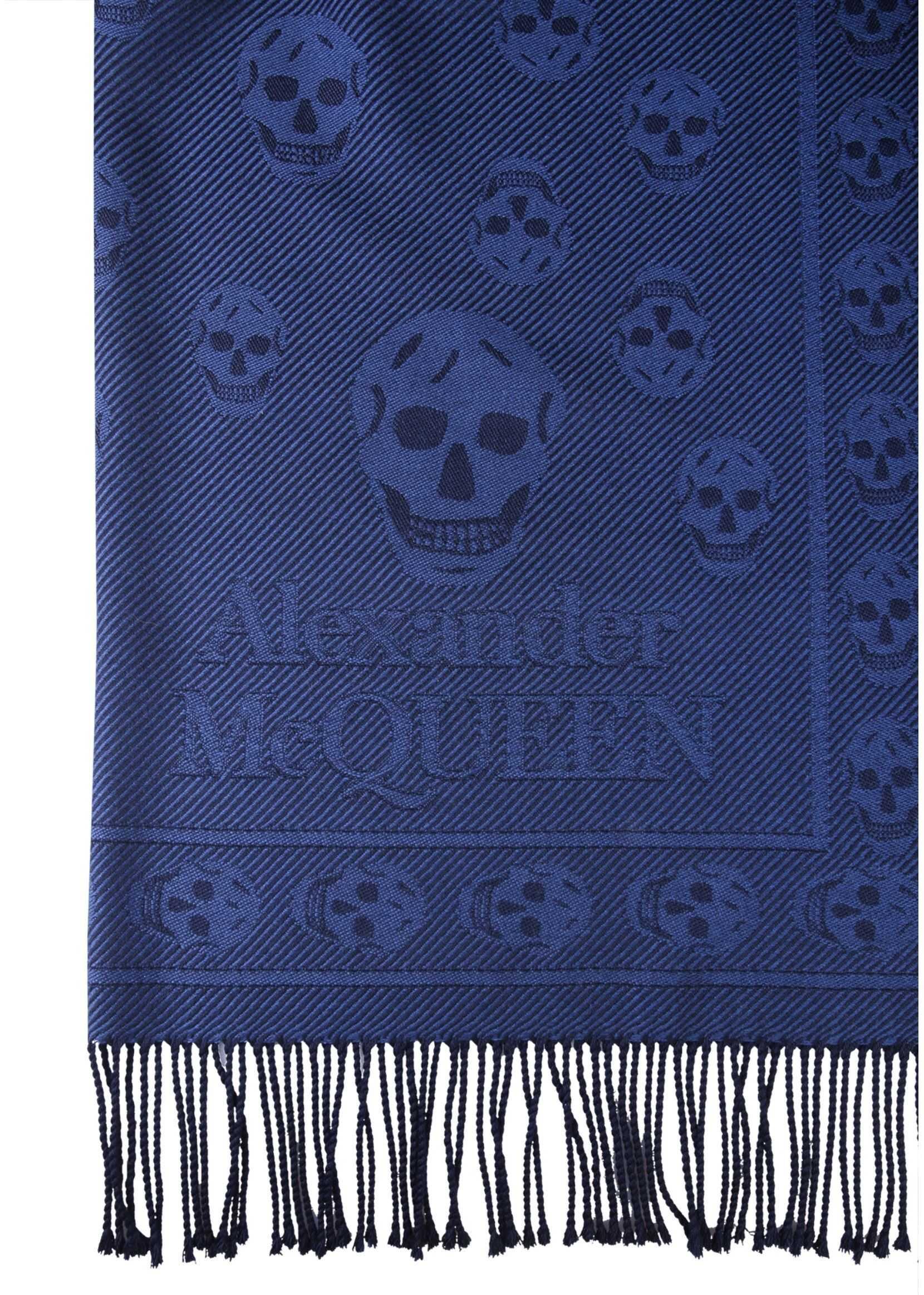 Alexander McQueen Skull Scarf BLUE