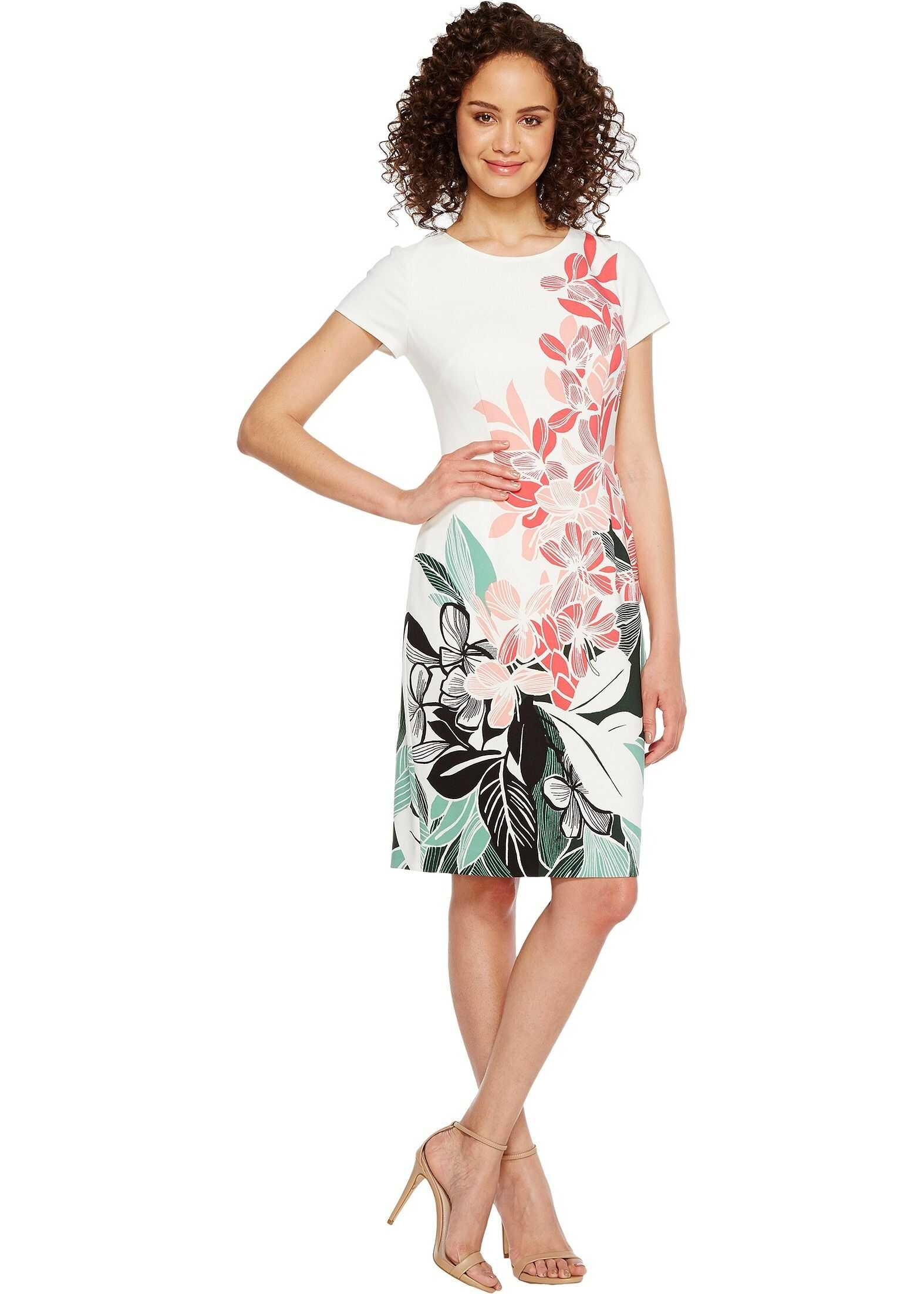 Adrianna Papell Placed Kingston Floral Printed Stretch Crepe Sheath Dress* Pink/Green Multi