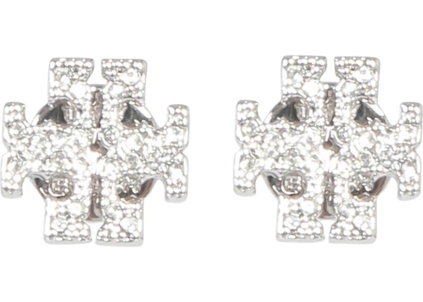 Tory Burch Crystal Logo Earrings SILVER