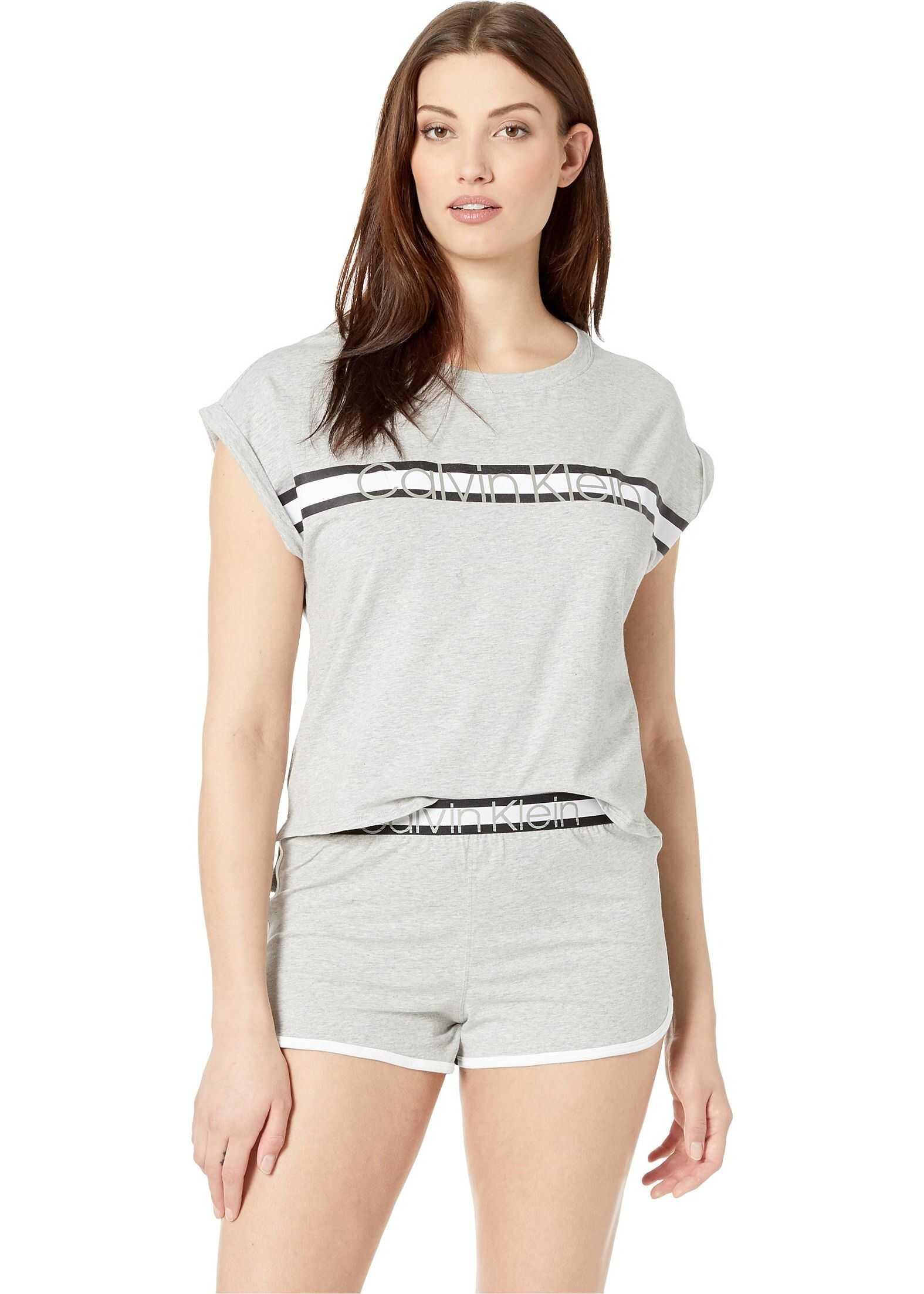 Calvin Klein Underwear Millenial Pj Set Short Sleeve Short Set Grey Heather