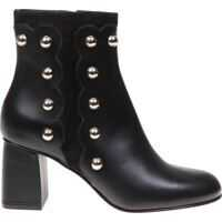 Incaltaminte RED VALENTINO Black Ankle Boots With Golden Studs