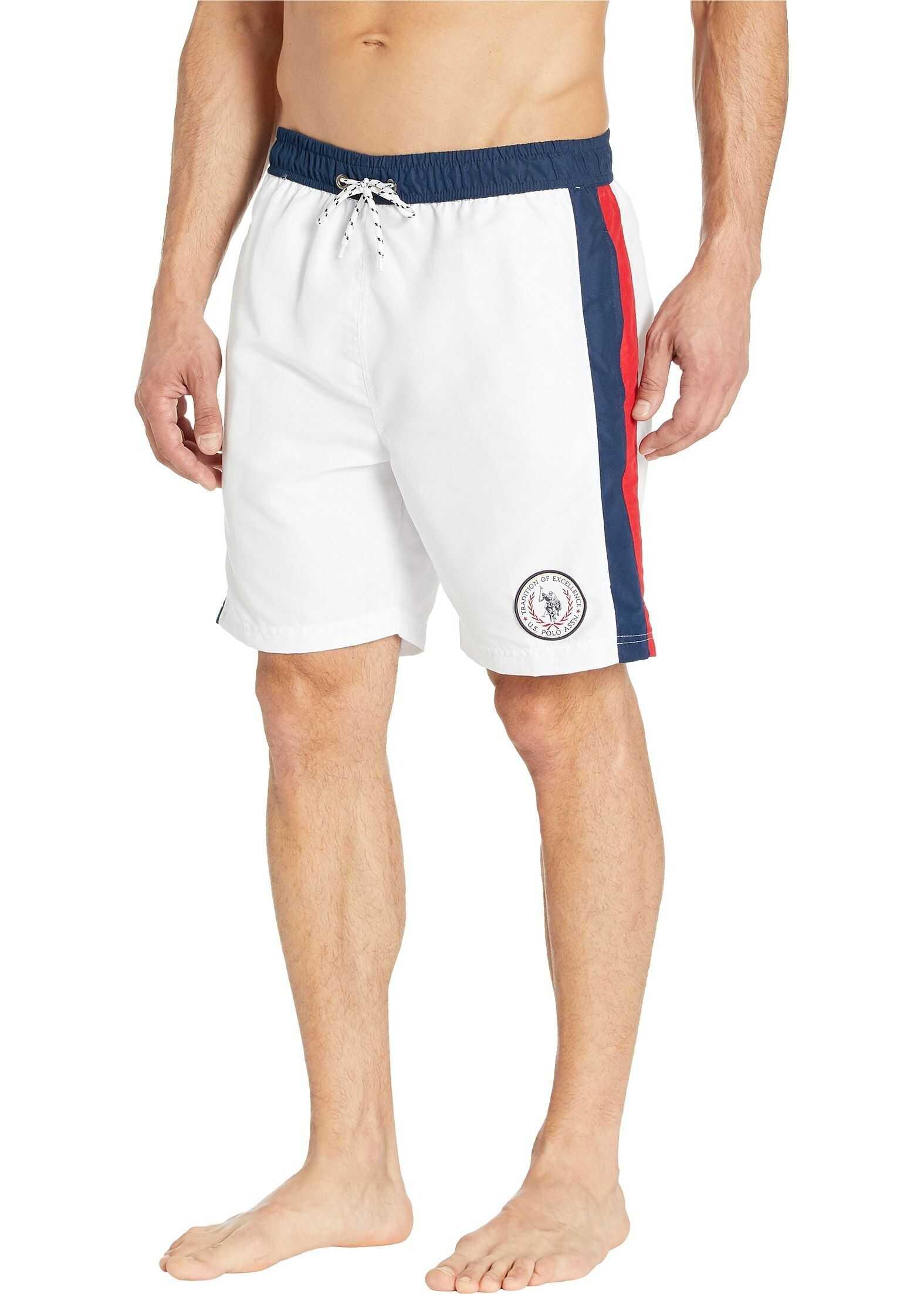 U.S. POLO ASSN. Side Stripe Swim Shorts White
