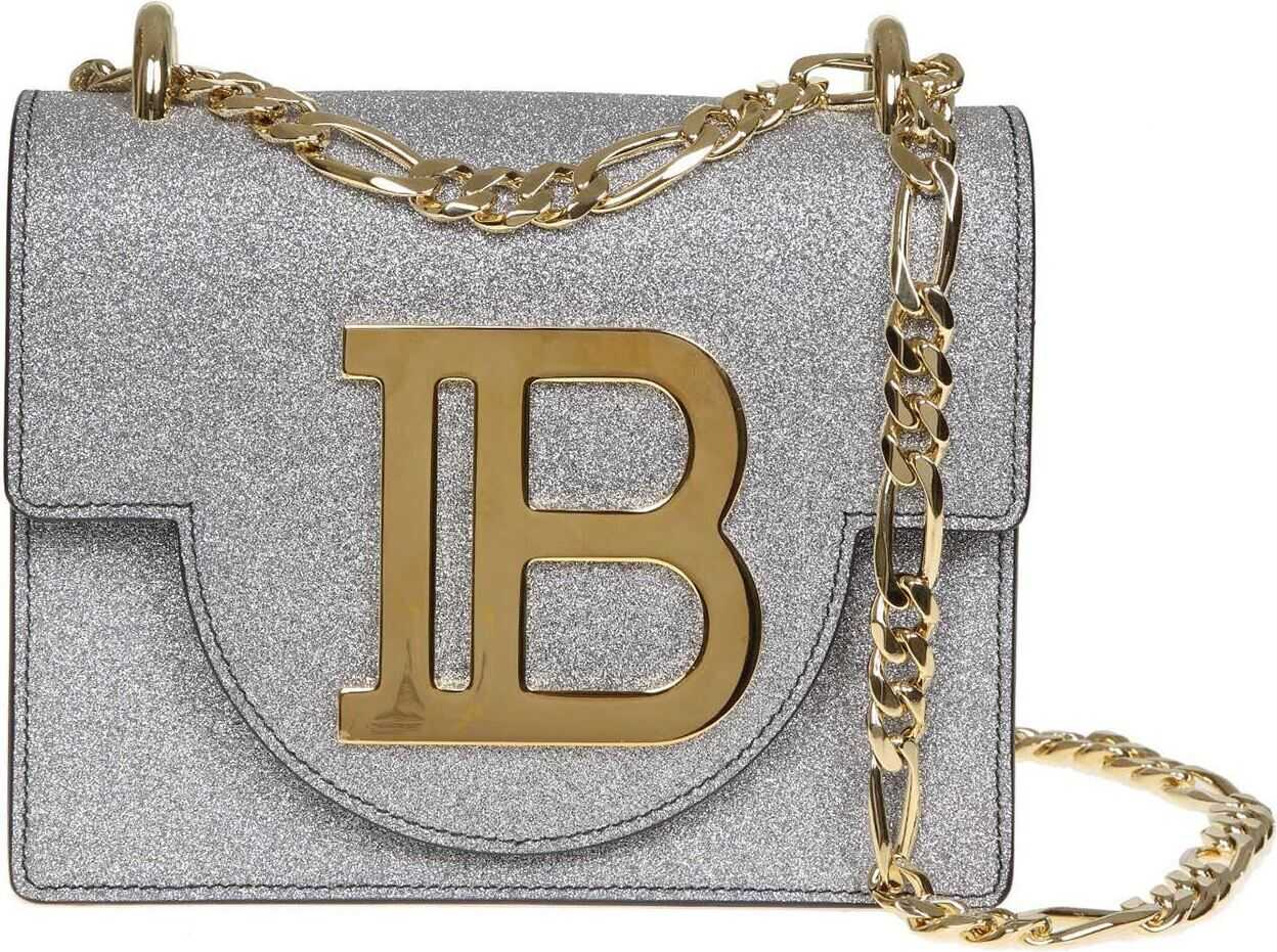 Balmain B-Bag 18 Shoulder Bag In Silver Leather Silver
