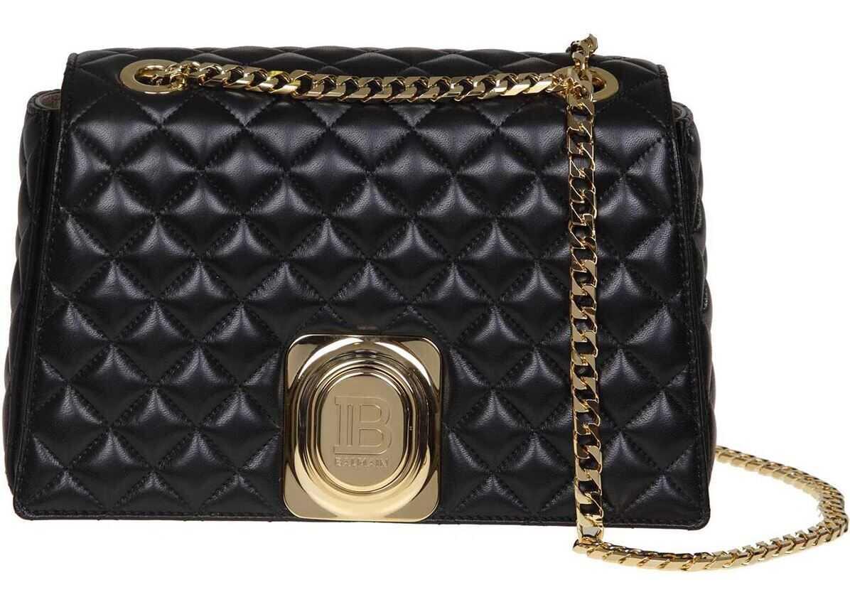 Balmain Signet Bag Shoulder Bag In Black Leather Black