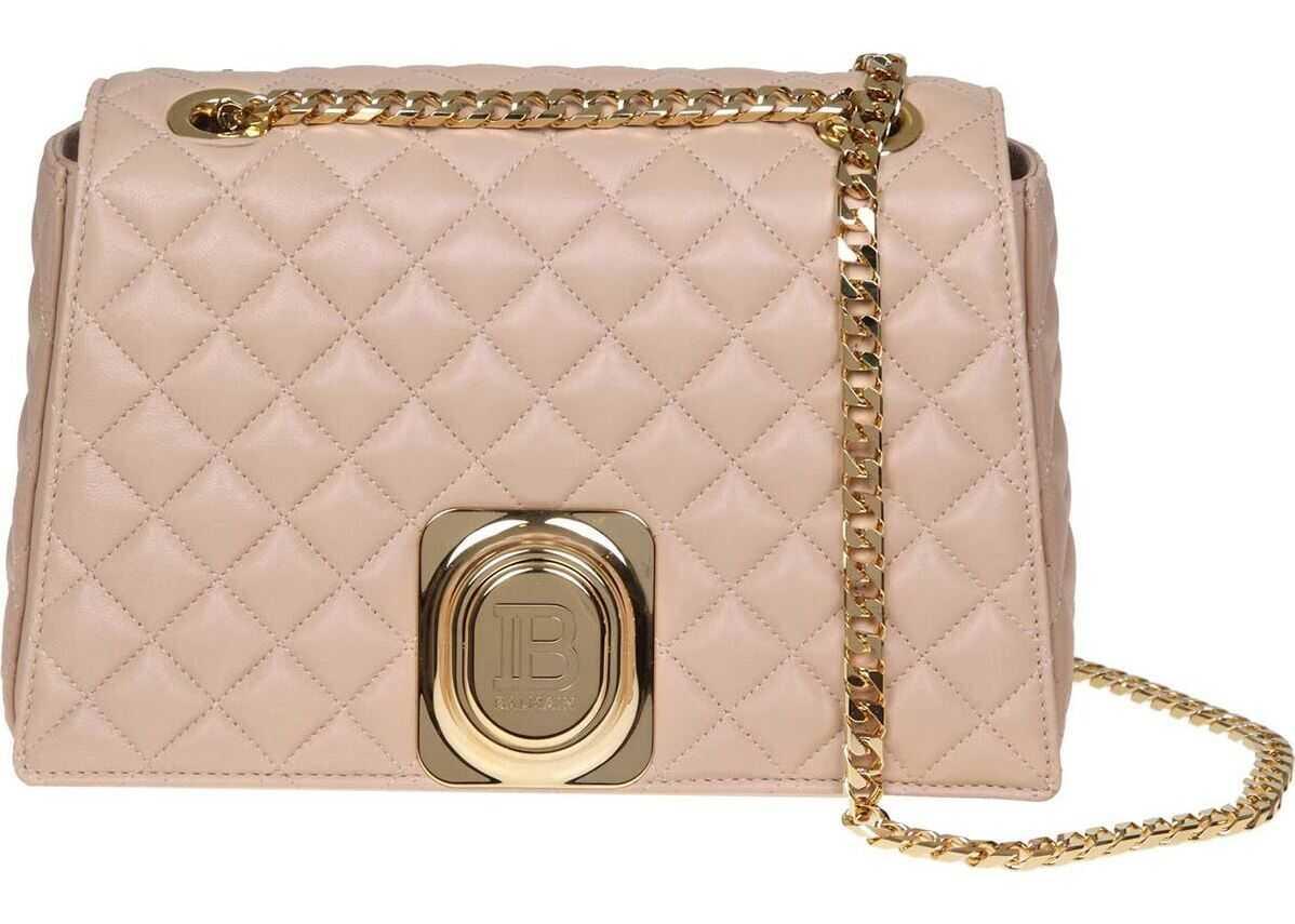 Balmain Signet Bag Shoulder Bag In Nude-Colored Leather Pink
