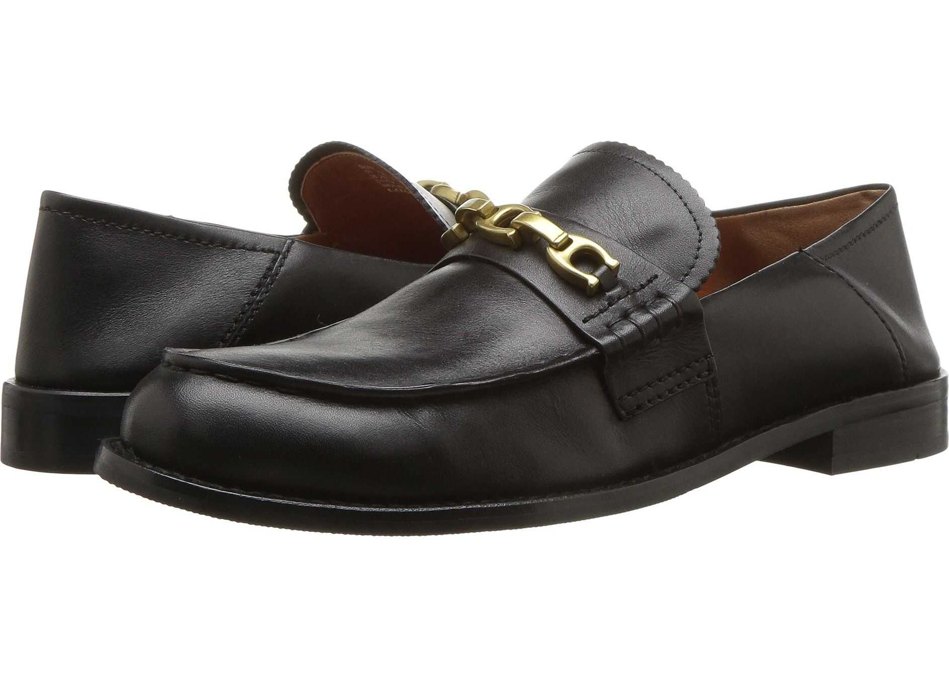 COACH Putnam Loafer with Signature Chain Black Leather