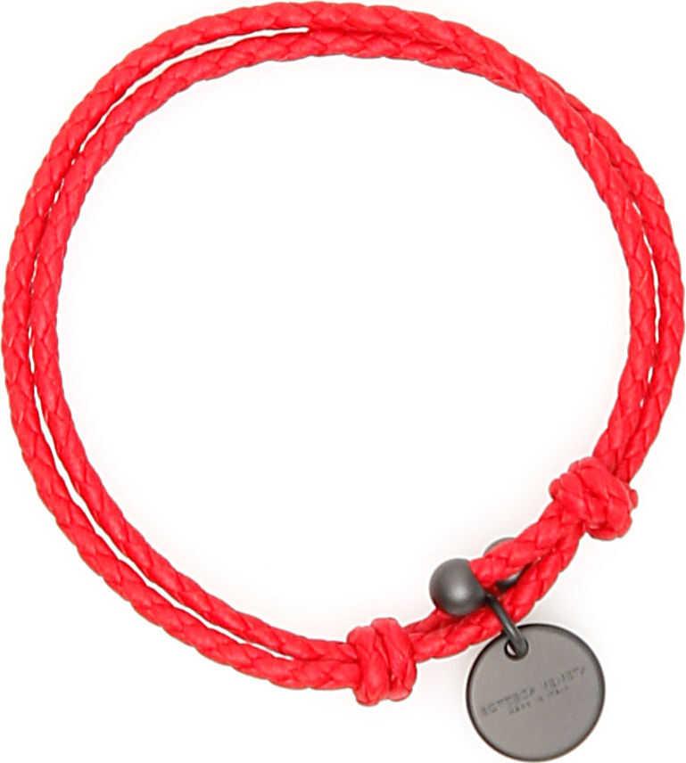 Bottega Veneta Unisex Intrecciato Bracelet With Two Knots BRIGHT RED
