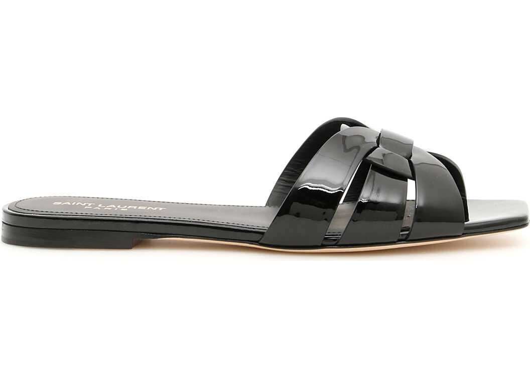 Saint Laurent Nu Pieds Slides NERO