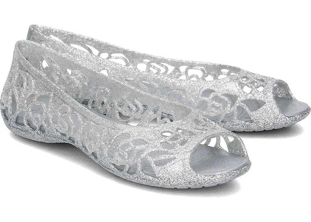 Crocs Isabella Glitter Flat Srebrny