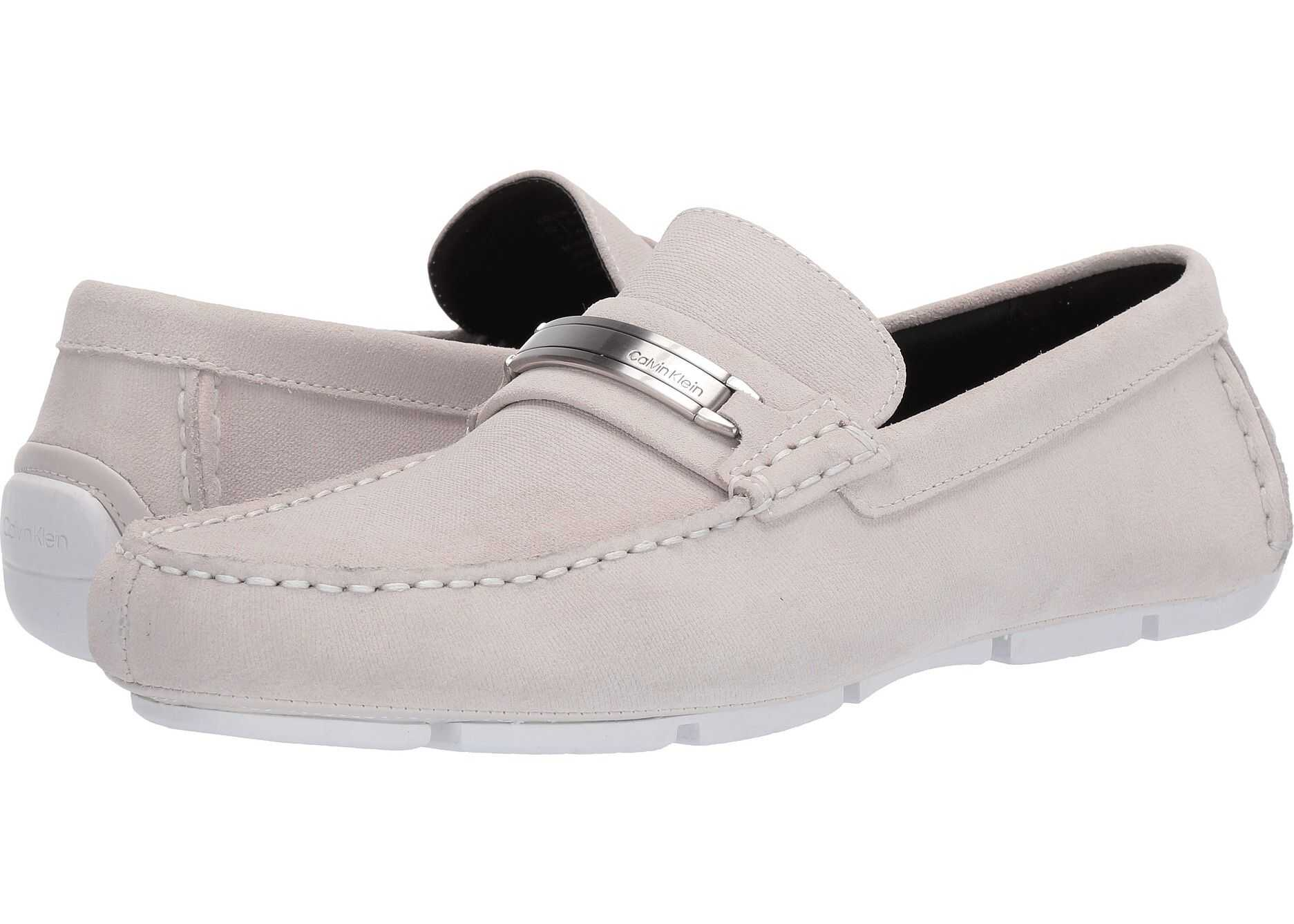 Calvin Klein Kolton White Hatched Embossed Calf Suede