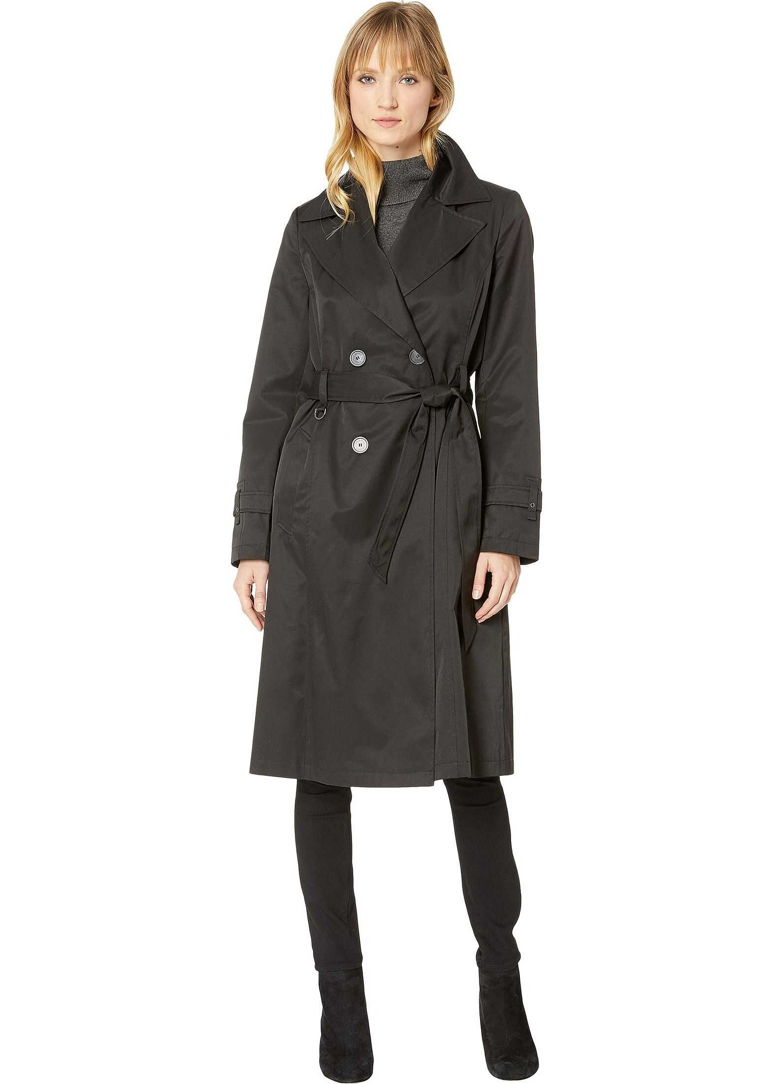 Via Spiga Double Breasted Belted Long Trench Black