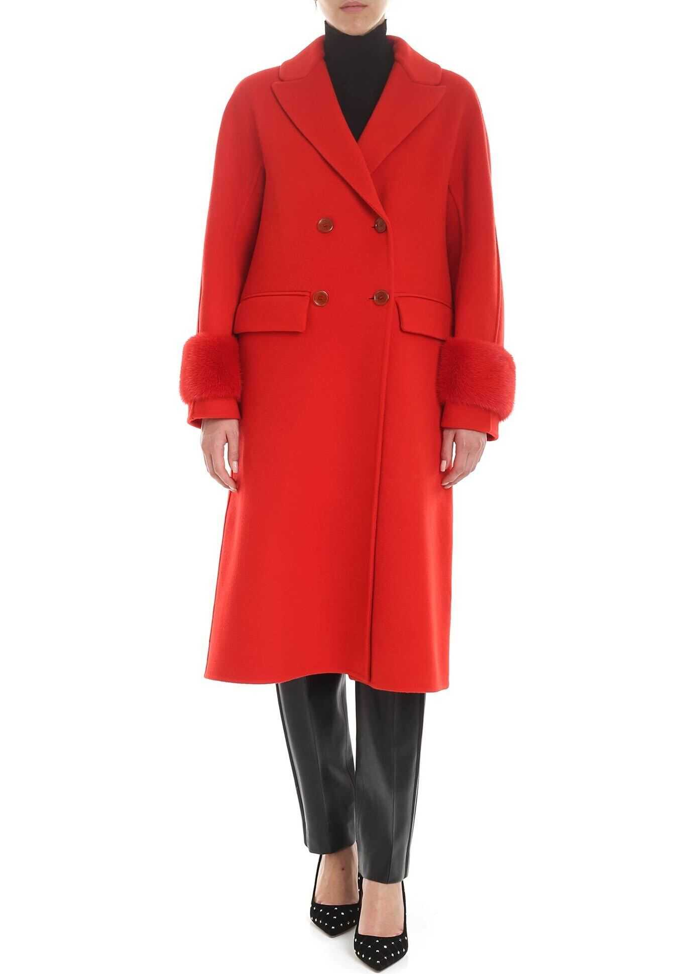 Ermanno Scervino Red Double-Breasted Coat With Mink Details Red