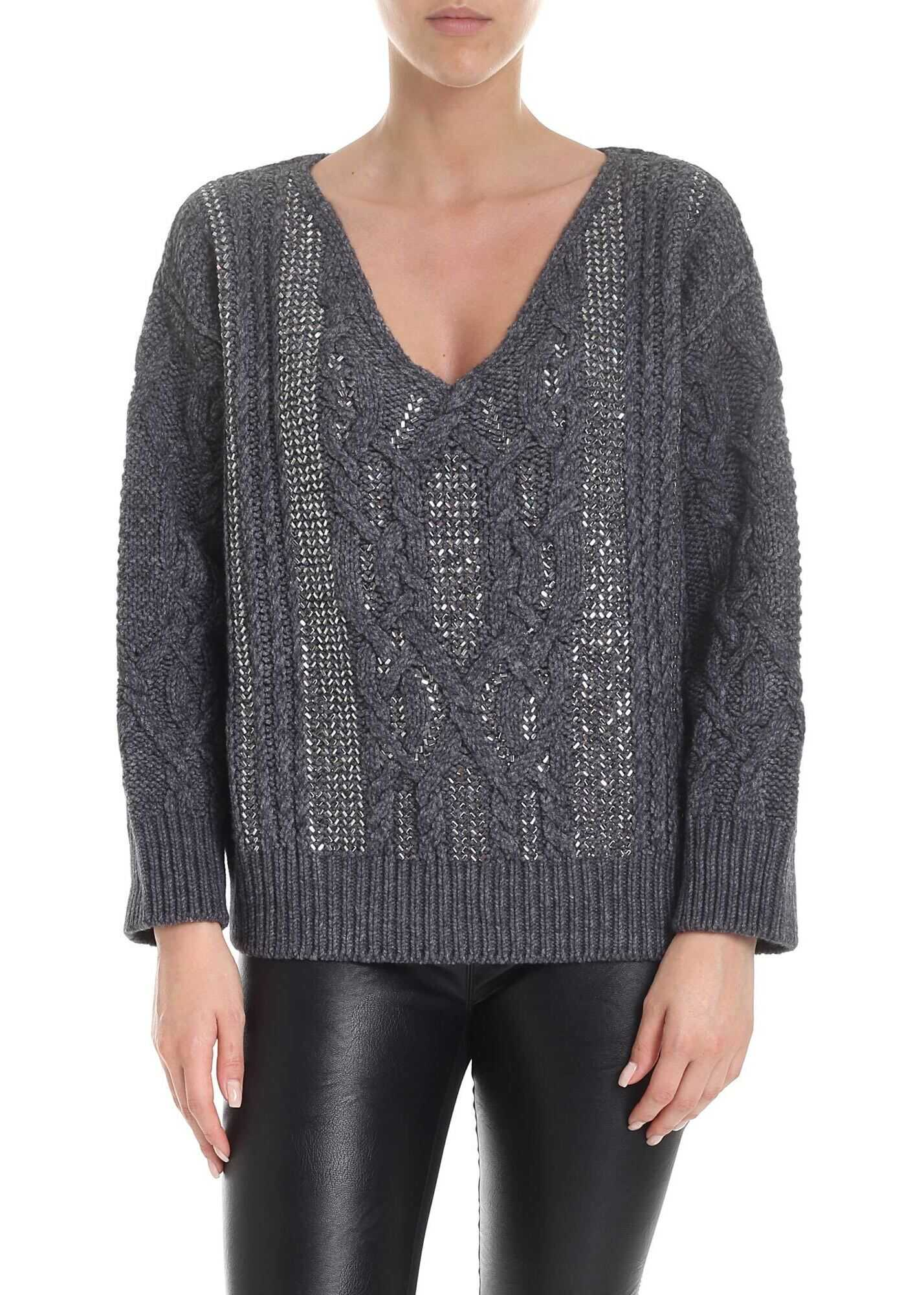 Ermanno Scervino V-Neck Sweater In Grey With Applied Rhinestones Grey