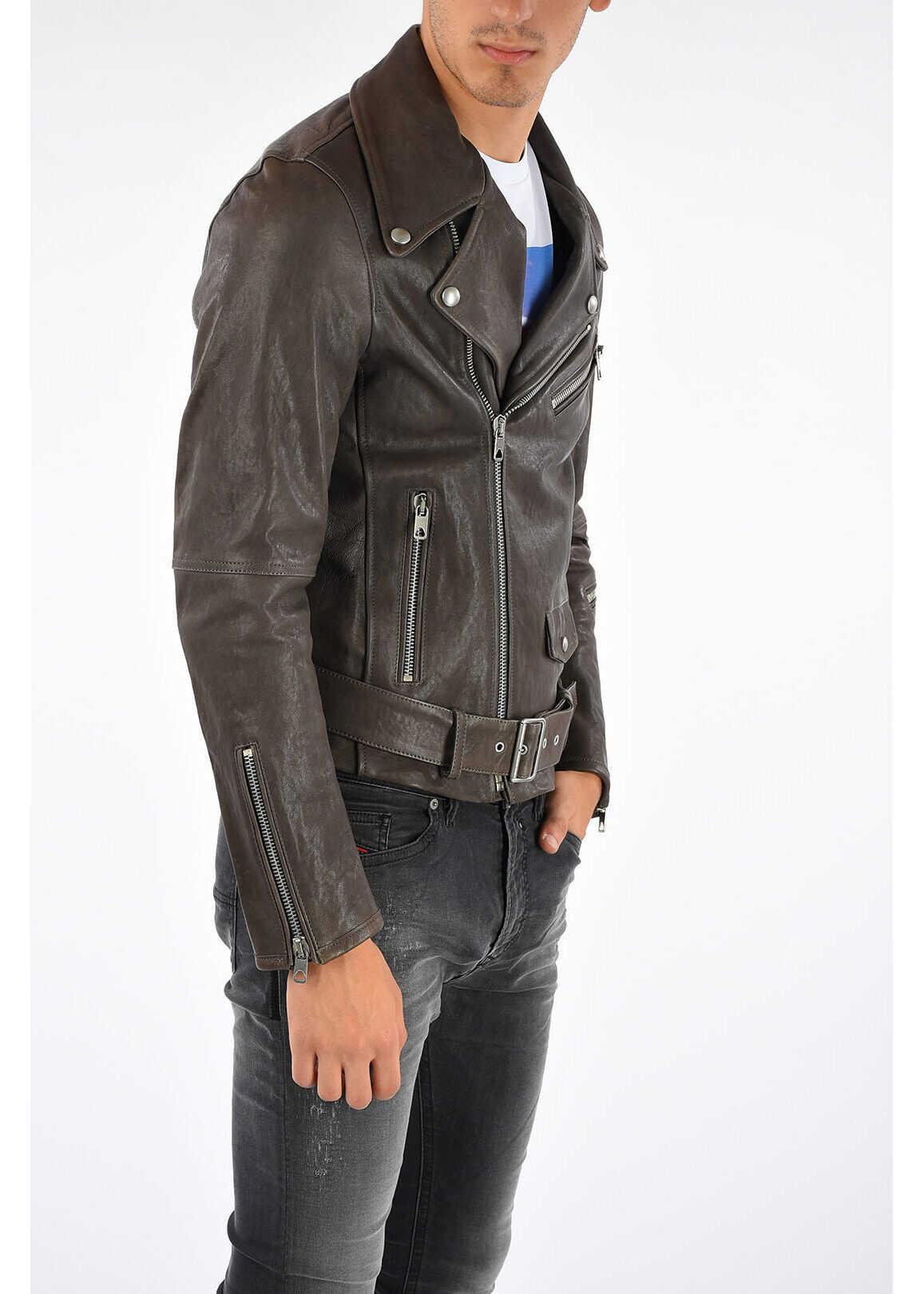 Diesel BLACK GOLD Leather LYMETAL Jacket BROWN