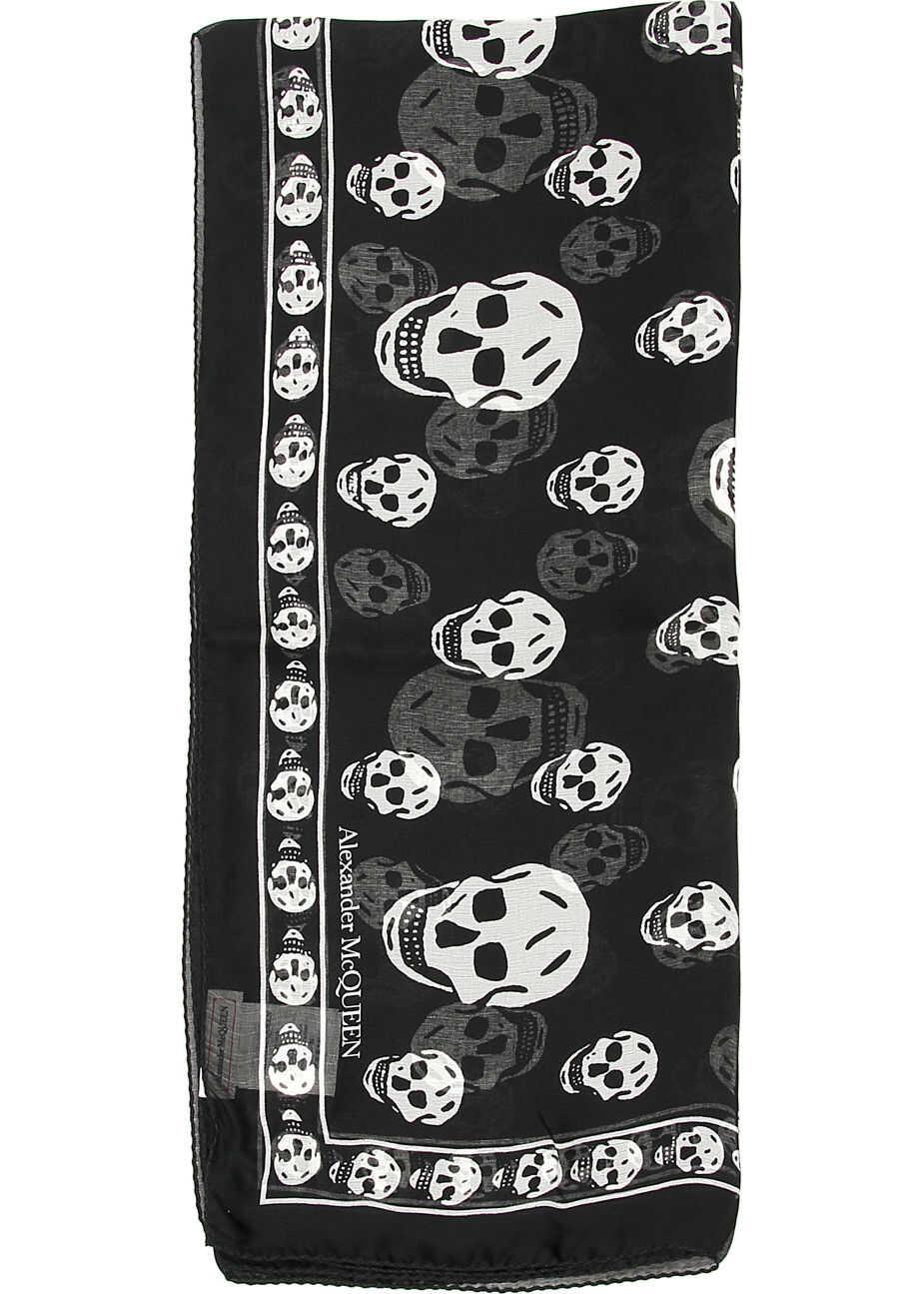 Alexander McQueen Silk Skull Scarf BLACK IVORY