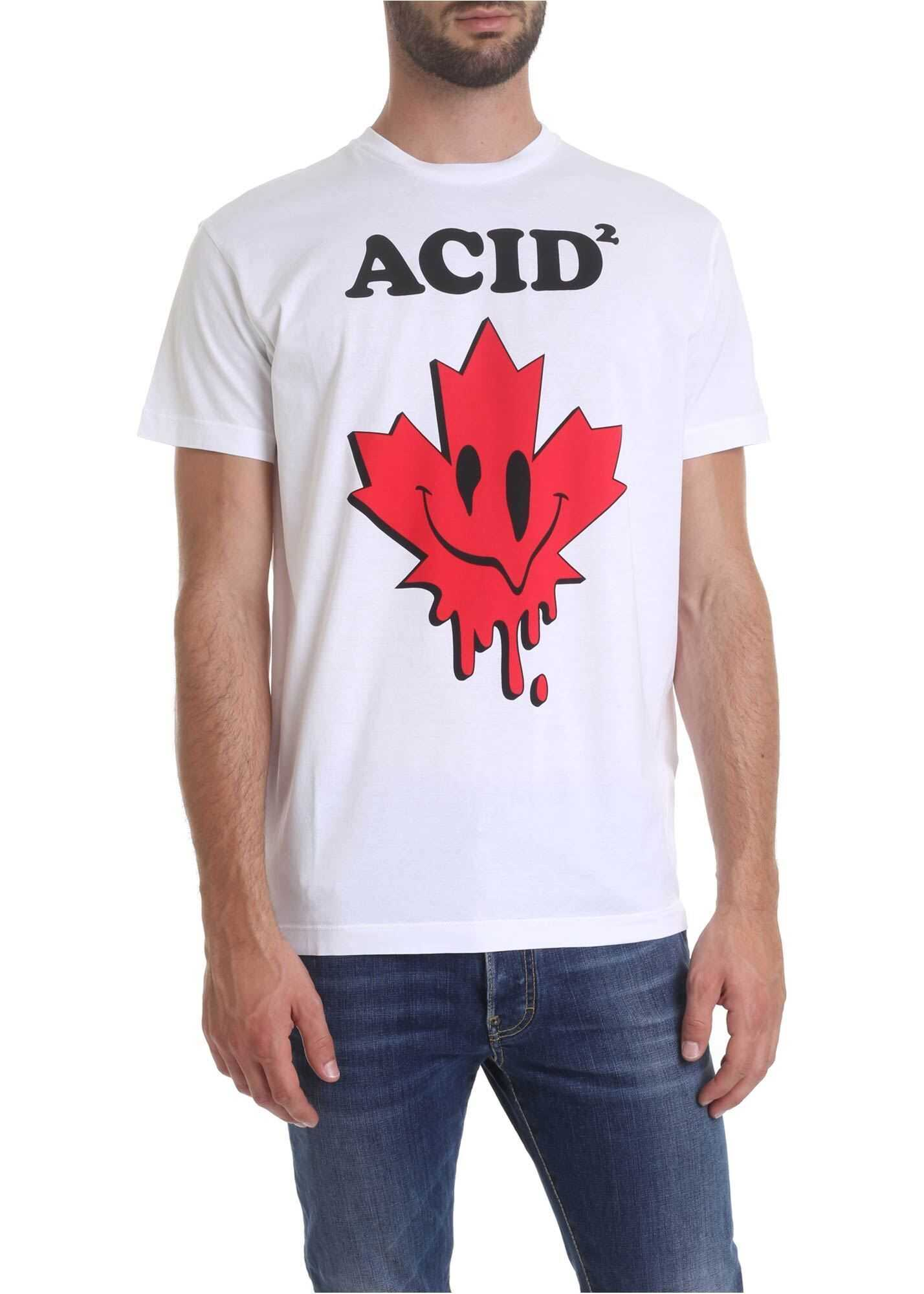 DSQUARED2 Acid Printed T-Shirt In White White