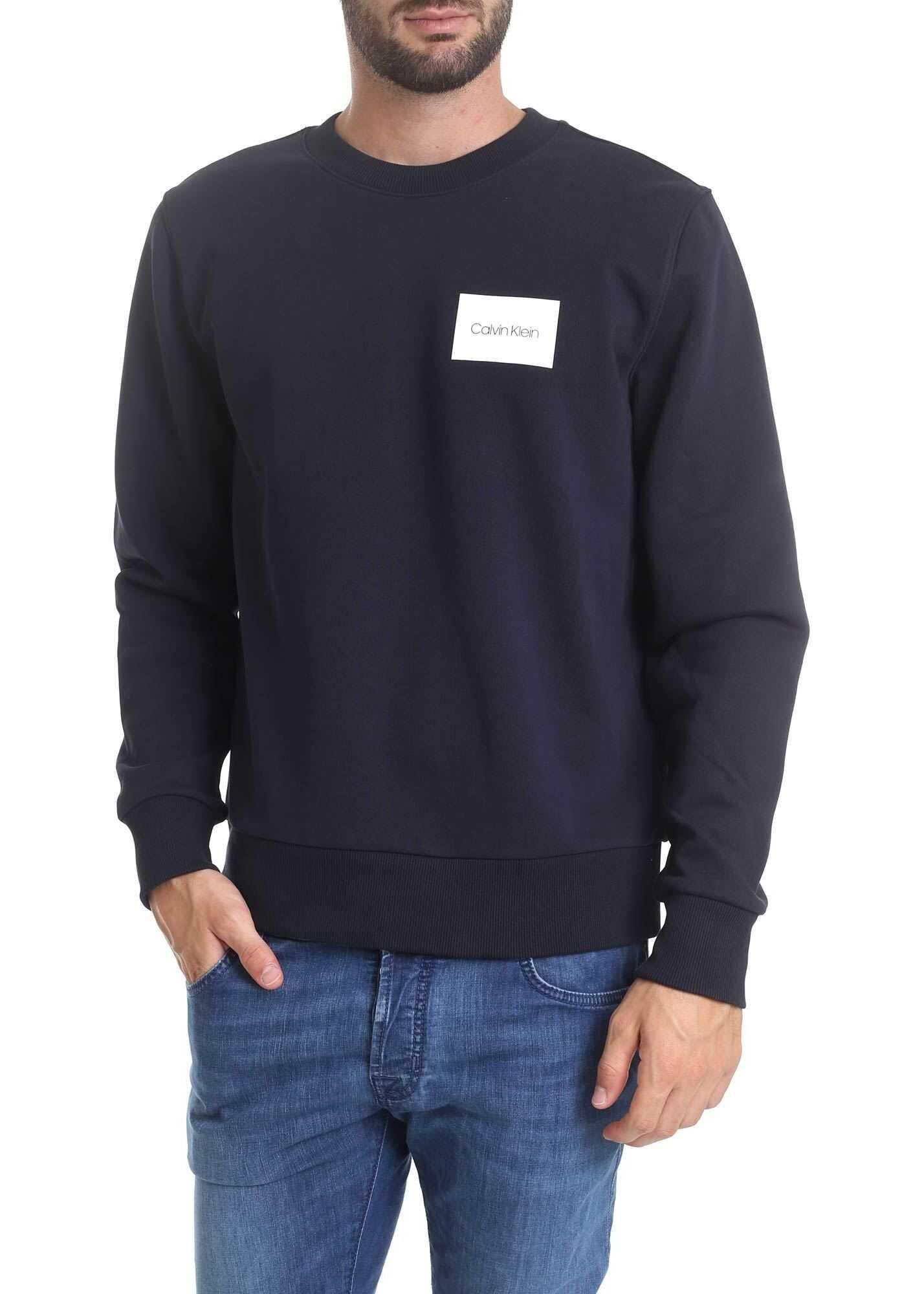 Calvin Klein Logo Box Sweatshirt In Dark Blue Blue