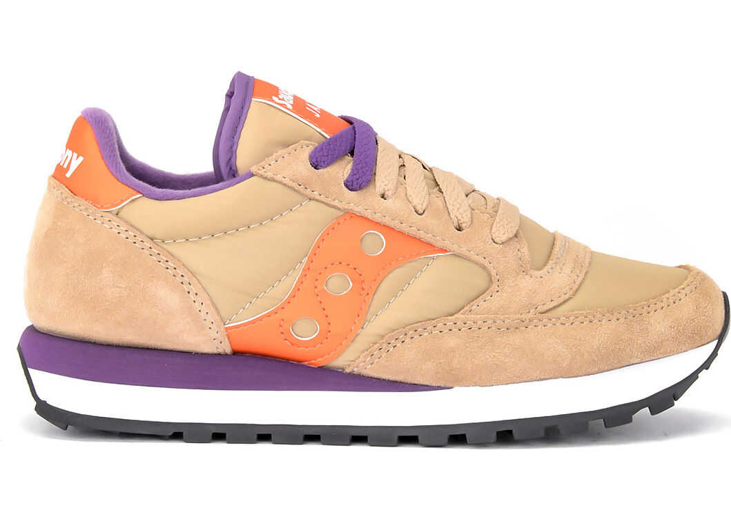 Saucony Jazz Sneaker In Suede And Beige Fabric With Orange Leather Details Multicolour