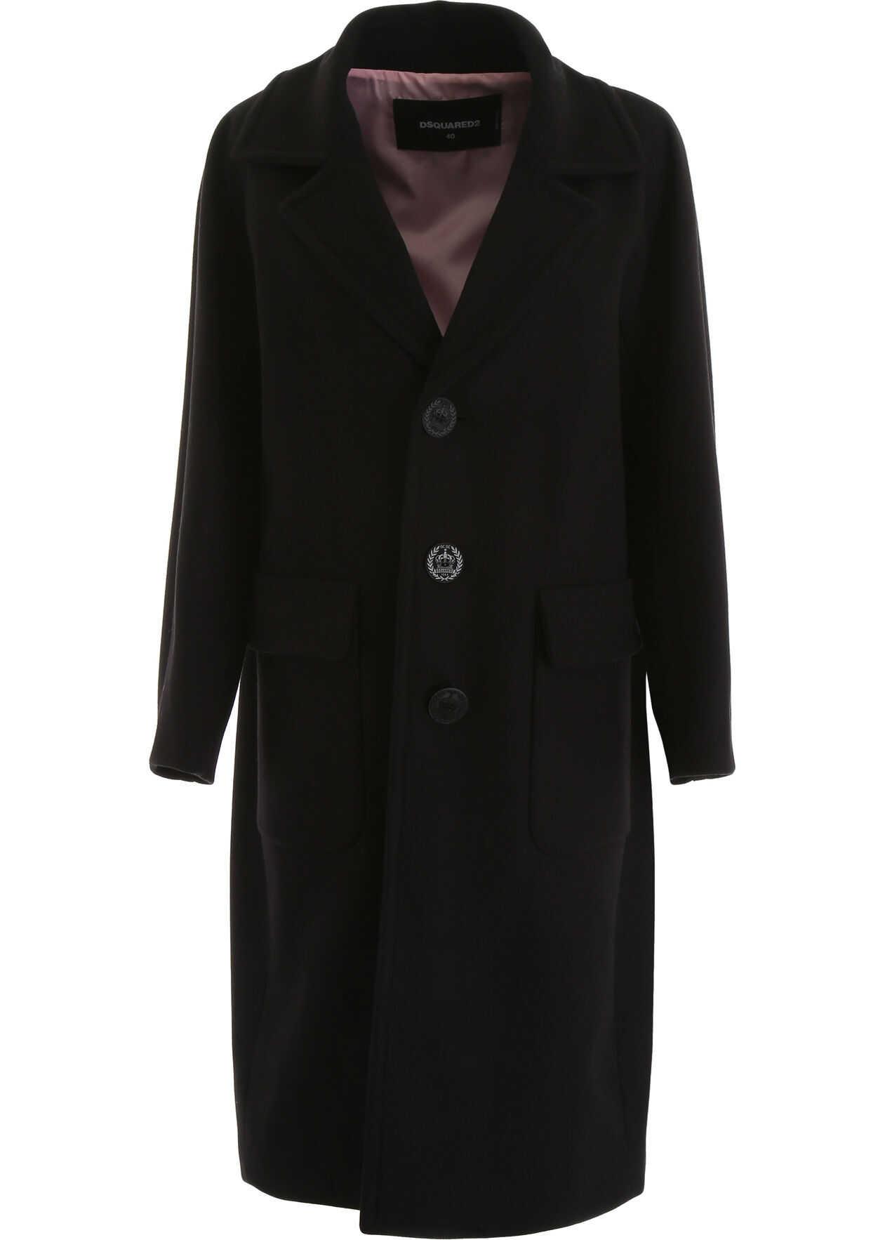DSQUARED2 Wool Coat BLACK