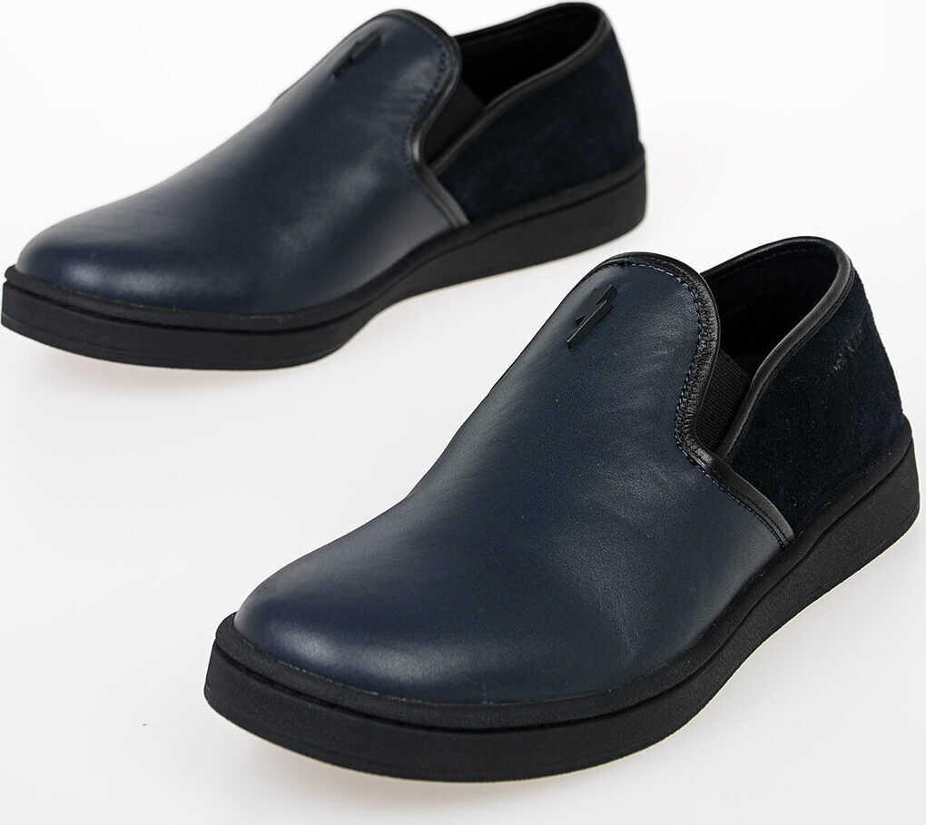 Neil Barrett Leather Slip on BLUE