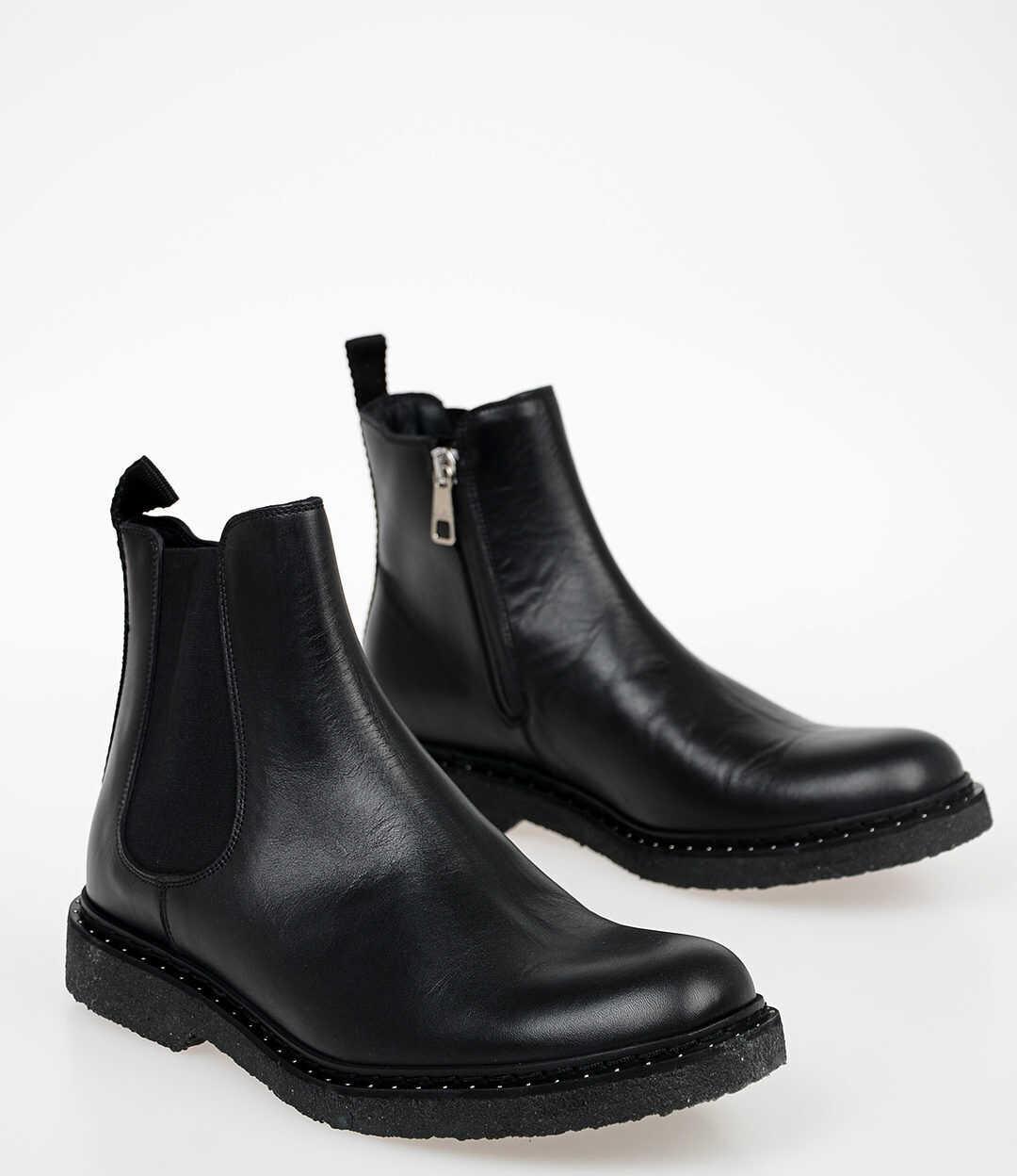 Neil Barrett Leather STUDDED CHELSEA Ankle Boots BLACK