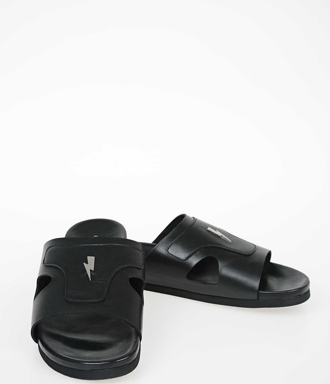 Neil Barrett Leather and Rubber THUNDERBOLT Slider BLACK