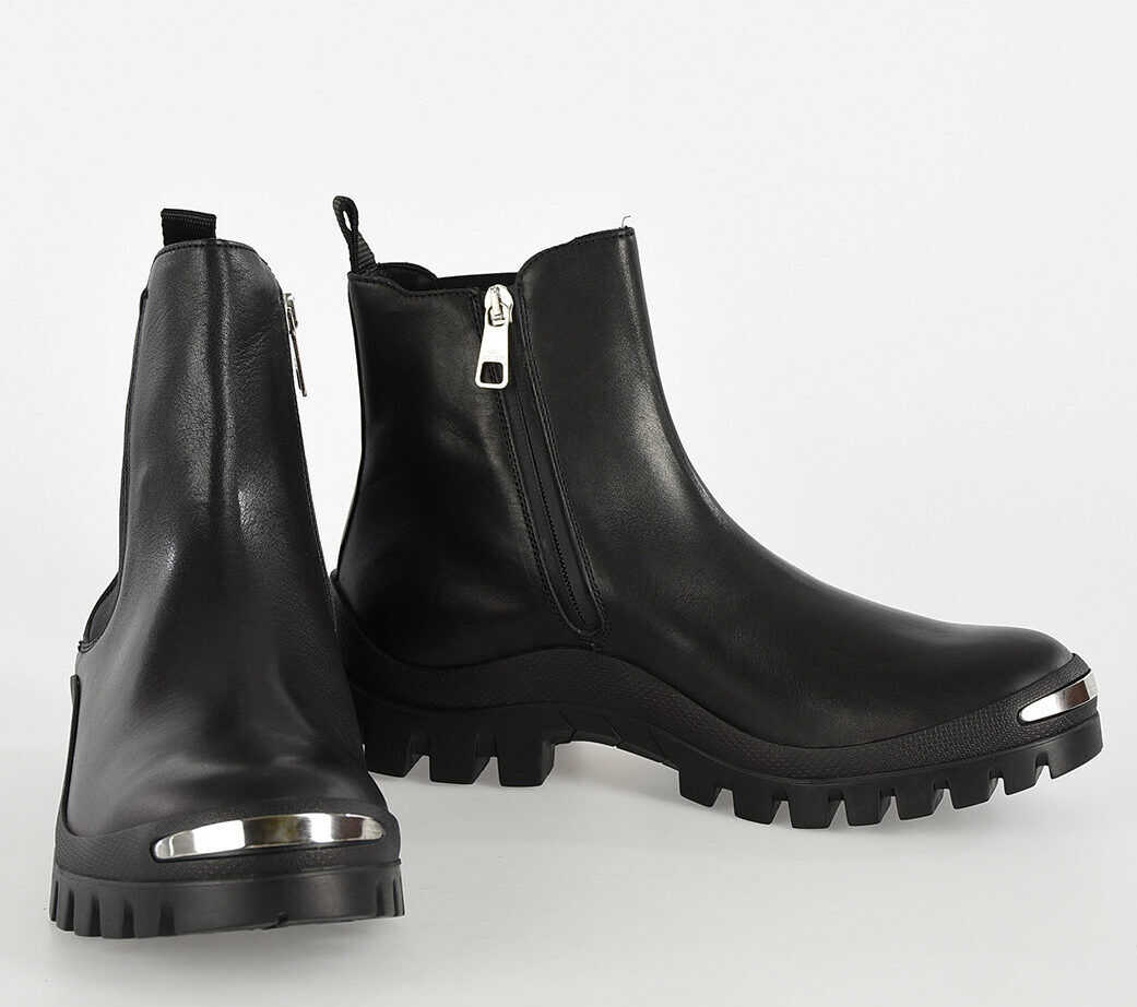 Neil Barrett Leather TREK CHELSEA Ankle Boots BLACK