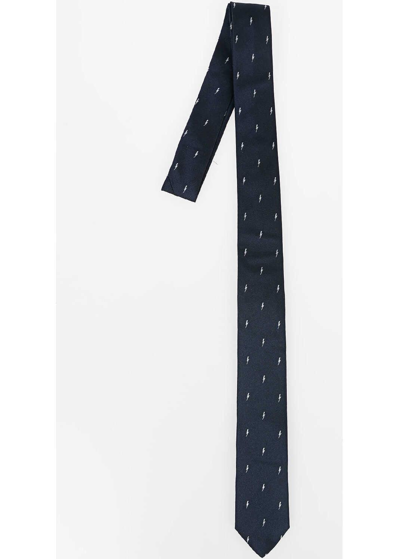 Neil Barrett Silk Skinny Tie BLUE