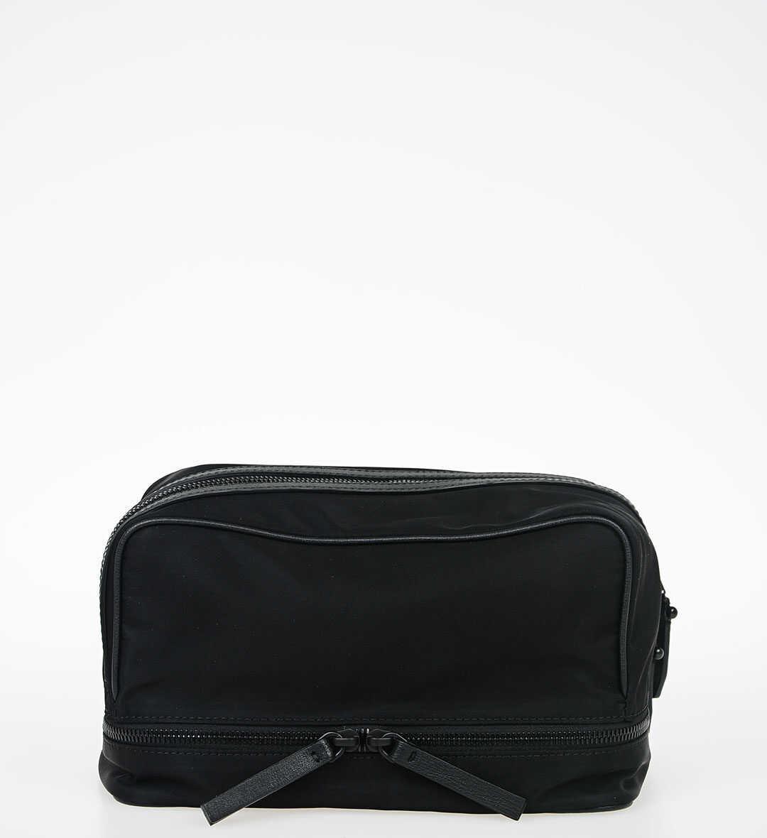 Neil Barrett Leather and Nylon Beauty Case BLACK imagine b-mall.ro