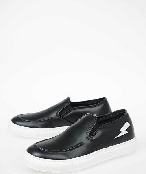 colecție nouă ultima moda murdărie ieftine Pantofi slip-on Neil Barrett Leather Slip on BLACK Barbati ...