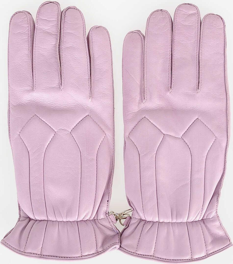 DSQUARED2 Leather Gloves VIOLET