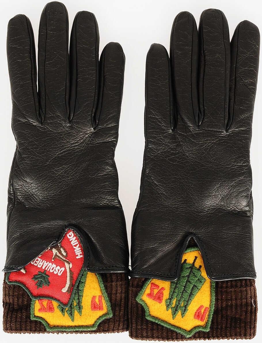 DSQUARED2 Leather Gloves BLACK