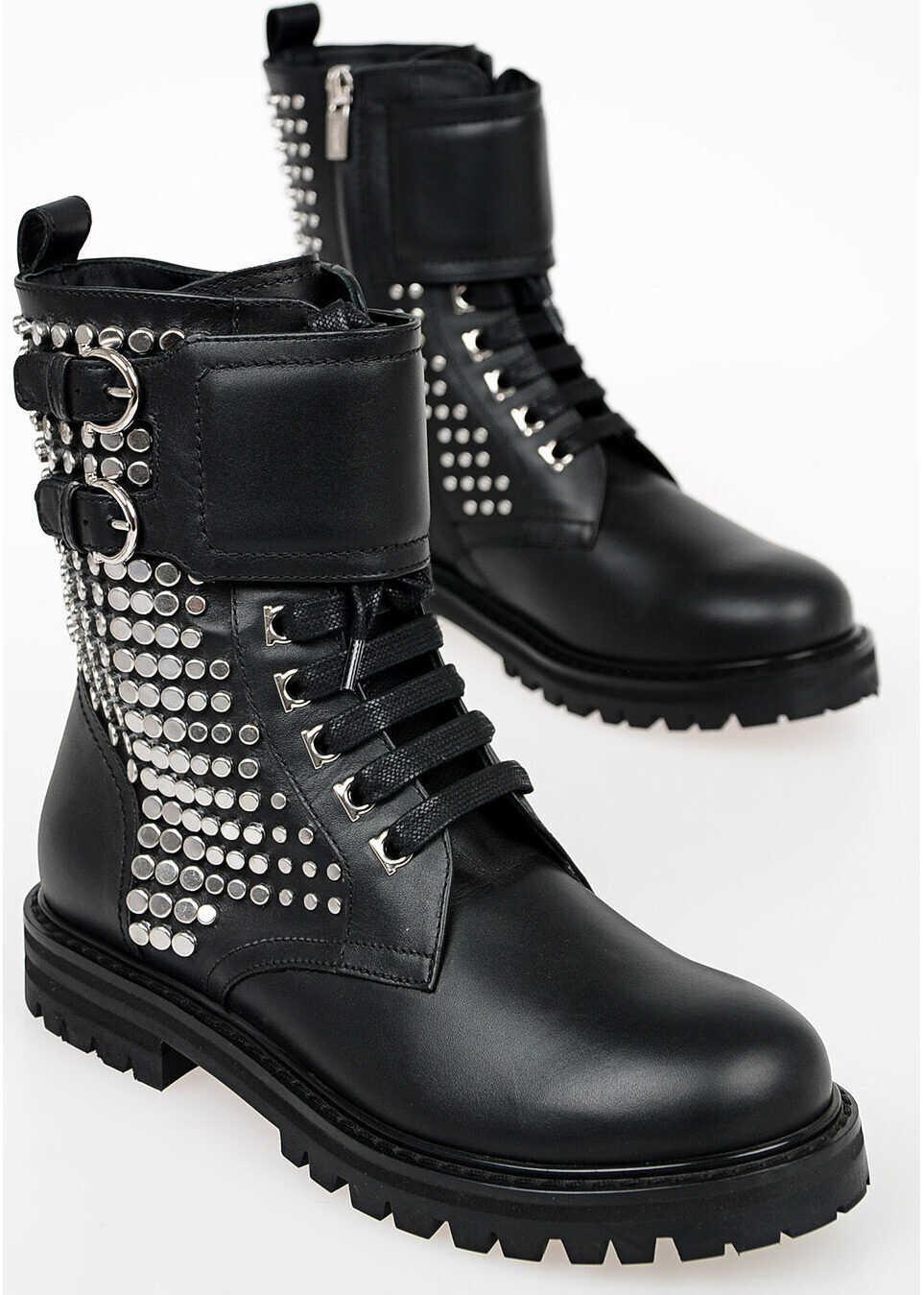 Salvatore Ferragamo Studded CROTONE Leather Boots BLACK