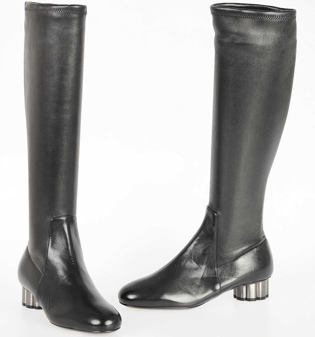 Salvatore Ferragamo Leather Boots BLACK
