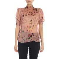 Bluze Printed Silk Blouse In Pink Femei