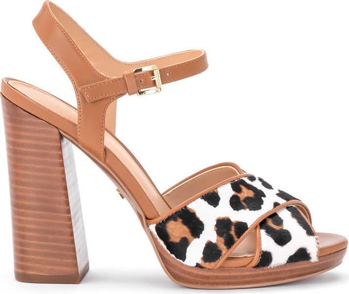 Pantofi Dama Michael Kors Sandalo Con Tacco Michael Kors Alexia In Pelle Cuoio E Cavallino Maculato*