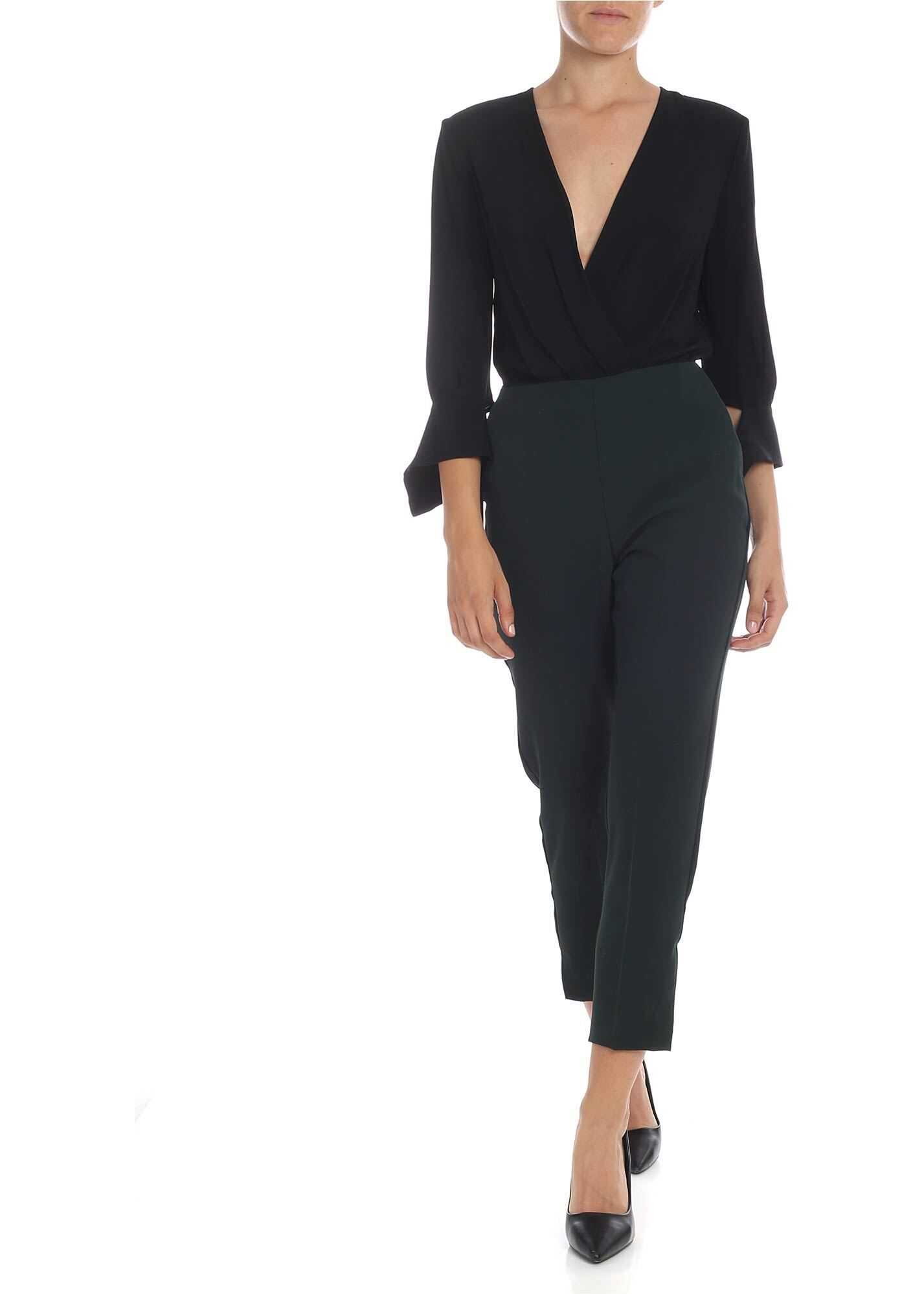 Elisabetta Franchi Crossover Jumpsuit In Glass Green And Black Black