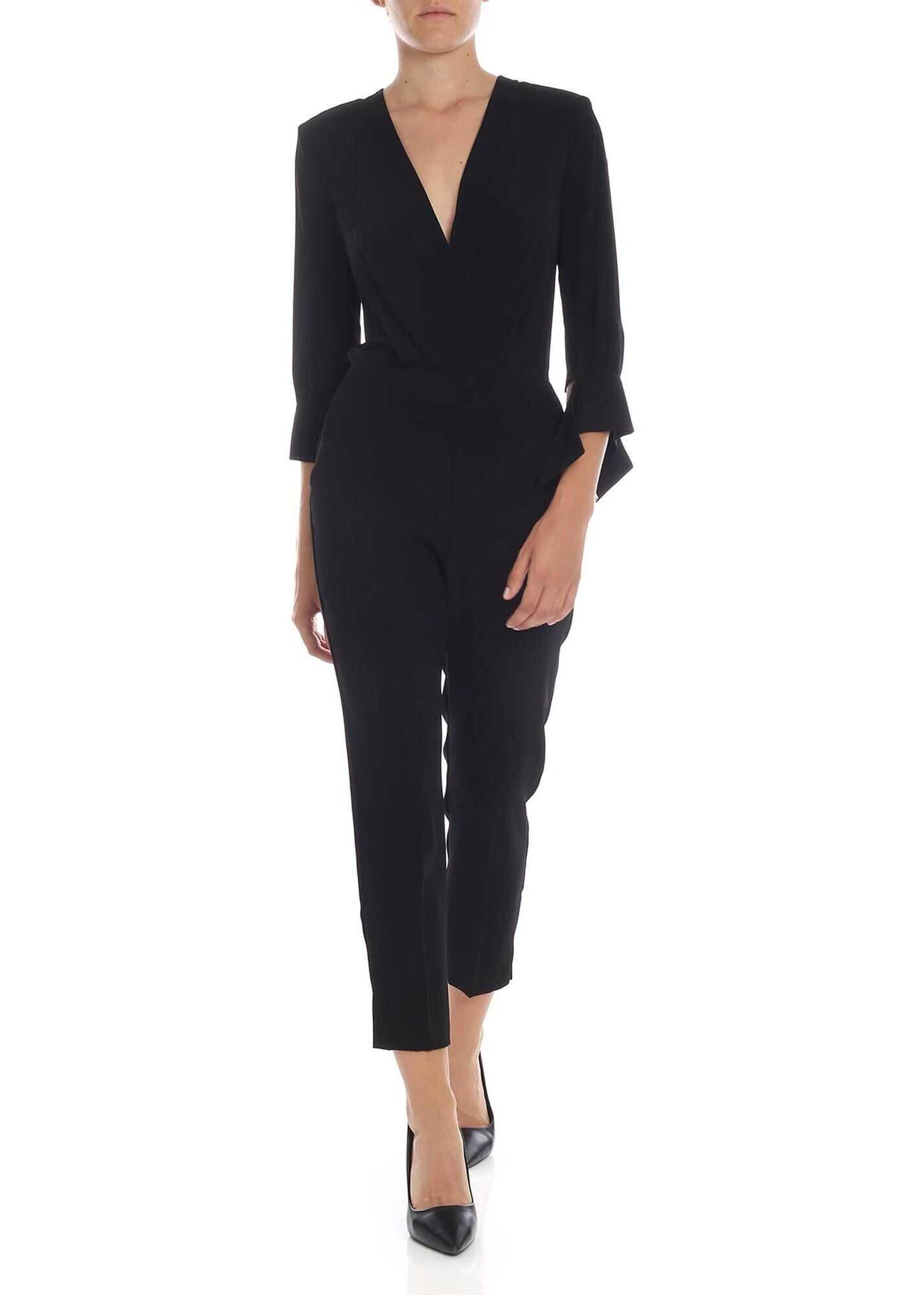 Elisabetta Franchi Crossover Crop Jumpsuit In Black Black