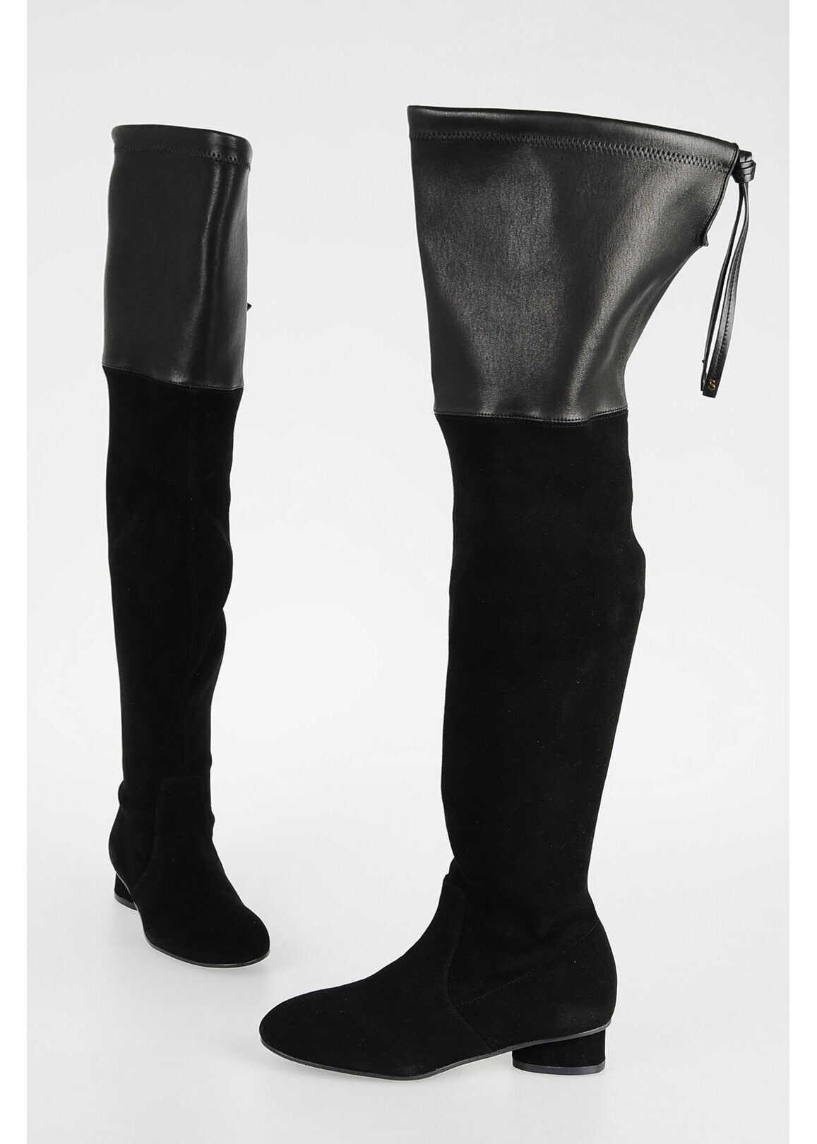 Stuart Weitzman Suede Leather HELENA Boots BLACK