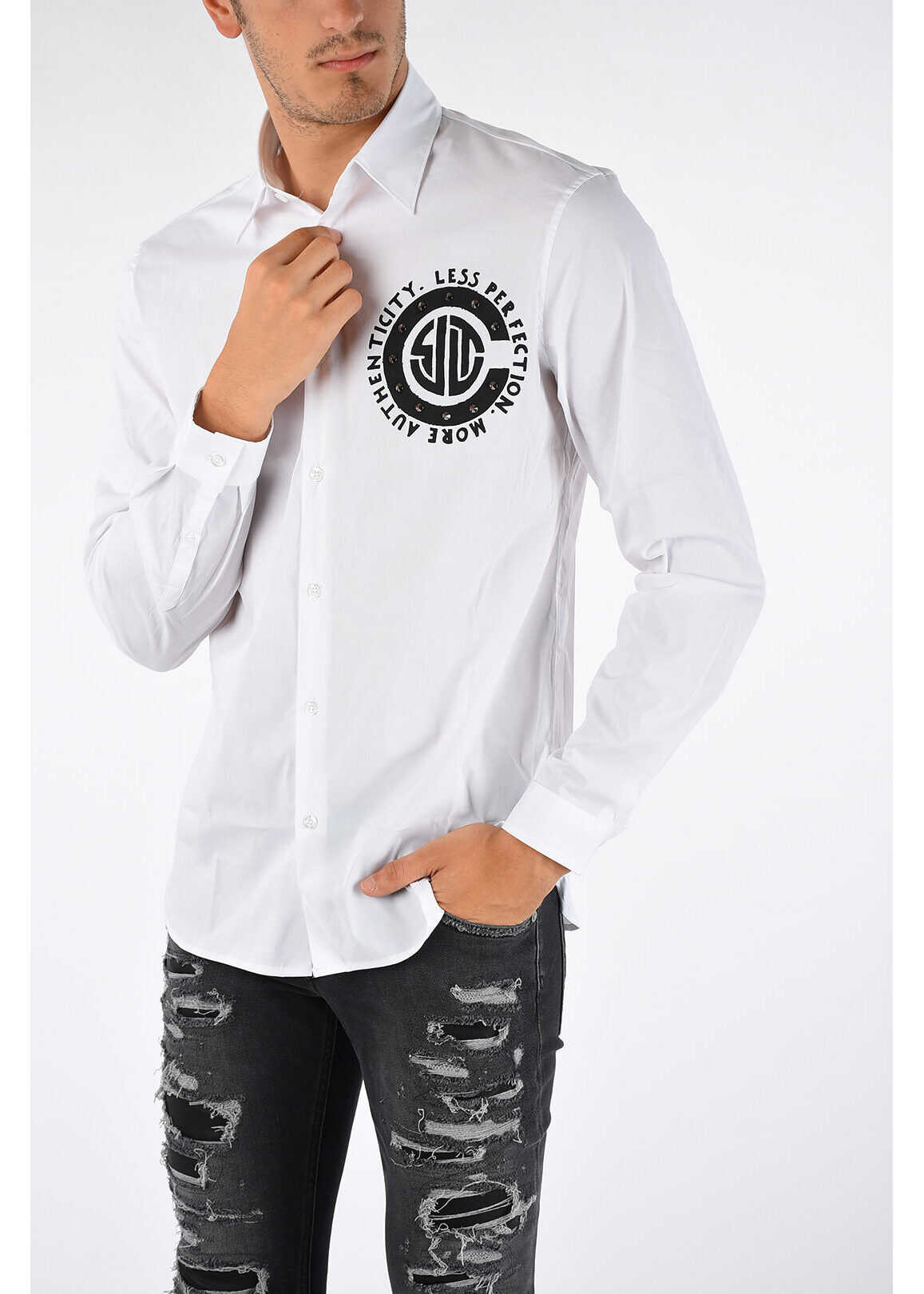 Just Cavalli Printed Shirt with Studs WHITE