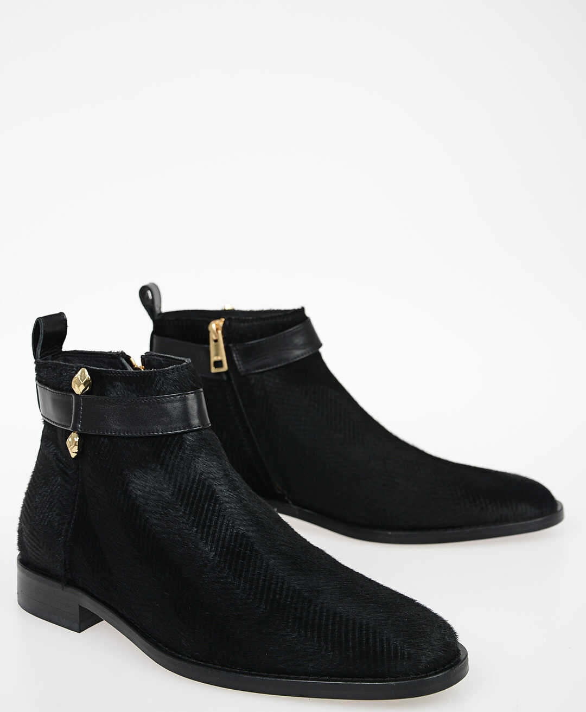 Just Cavalli Faux Fur Ankle Boots BLACK