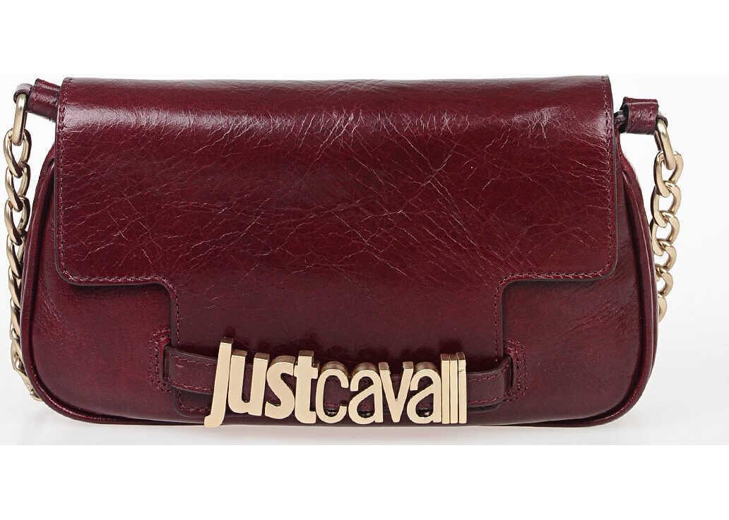 Just Cavalli Leather Shoulder Bag BURGUNDY