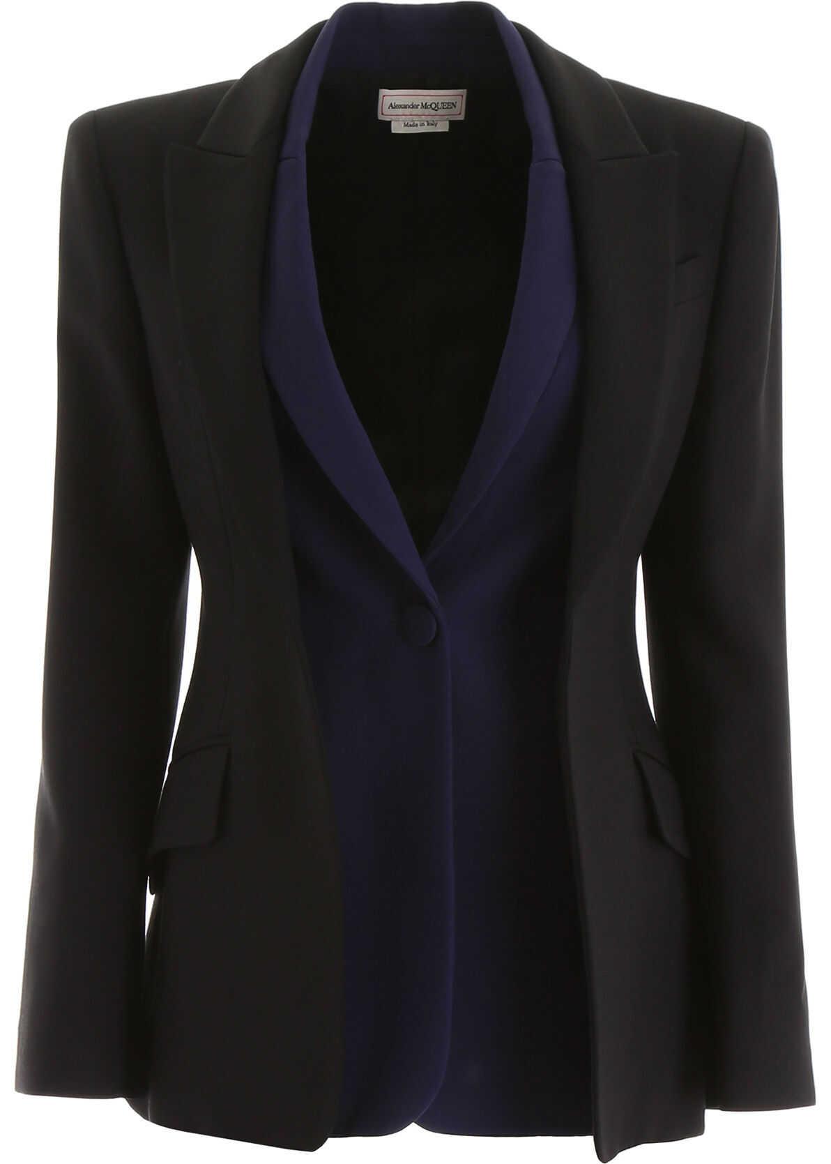 Alexander McQueen Bicolor Double Jacket BLACK SAPPHIRE