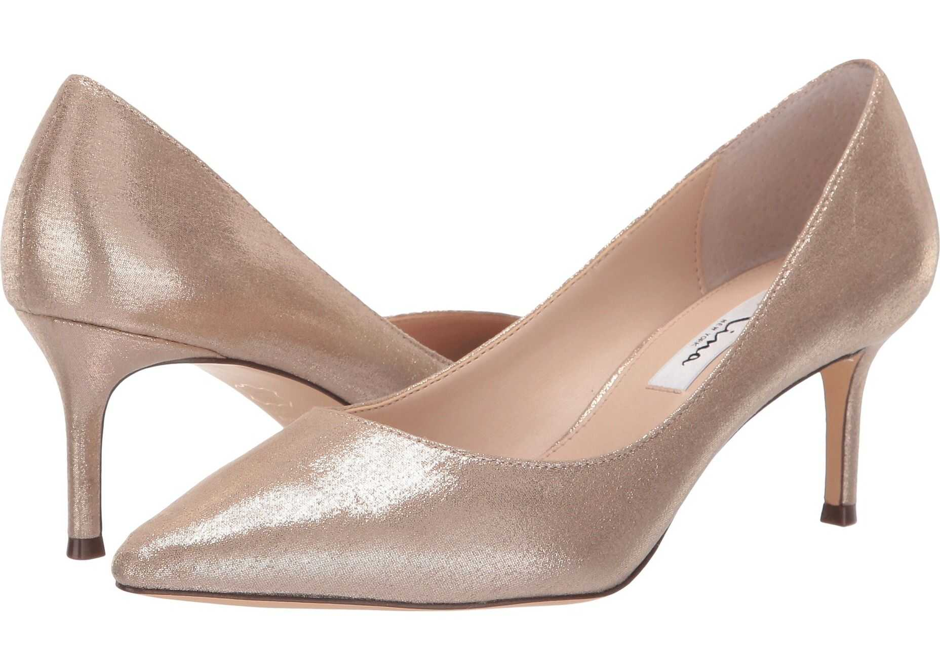 Nina Stacy Taupe Reflective Suedette