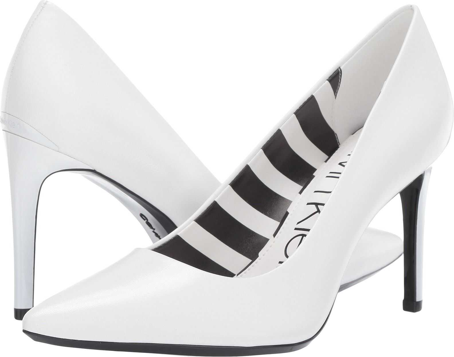 Calvin Klein Ronna White Leather Stripes