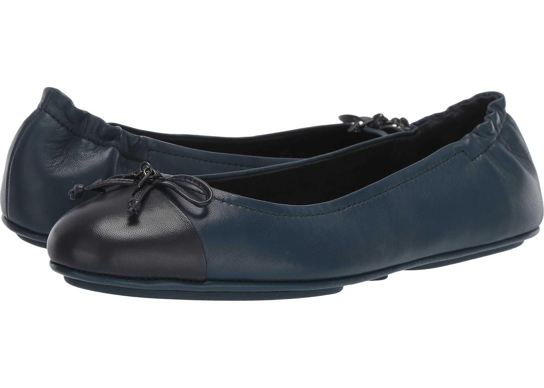 COACH Pearl Foldable Ballet - Leather Midnight Navy/Dark Denim