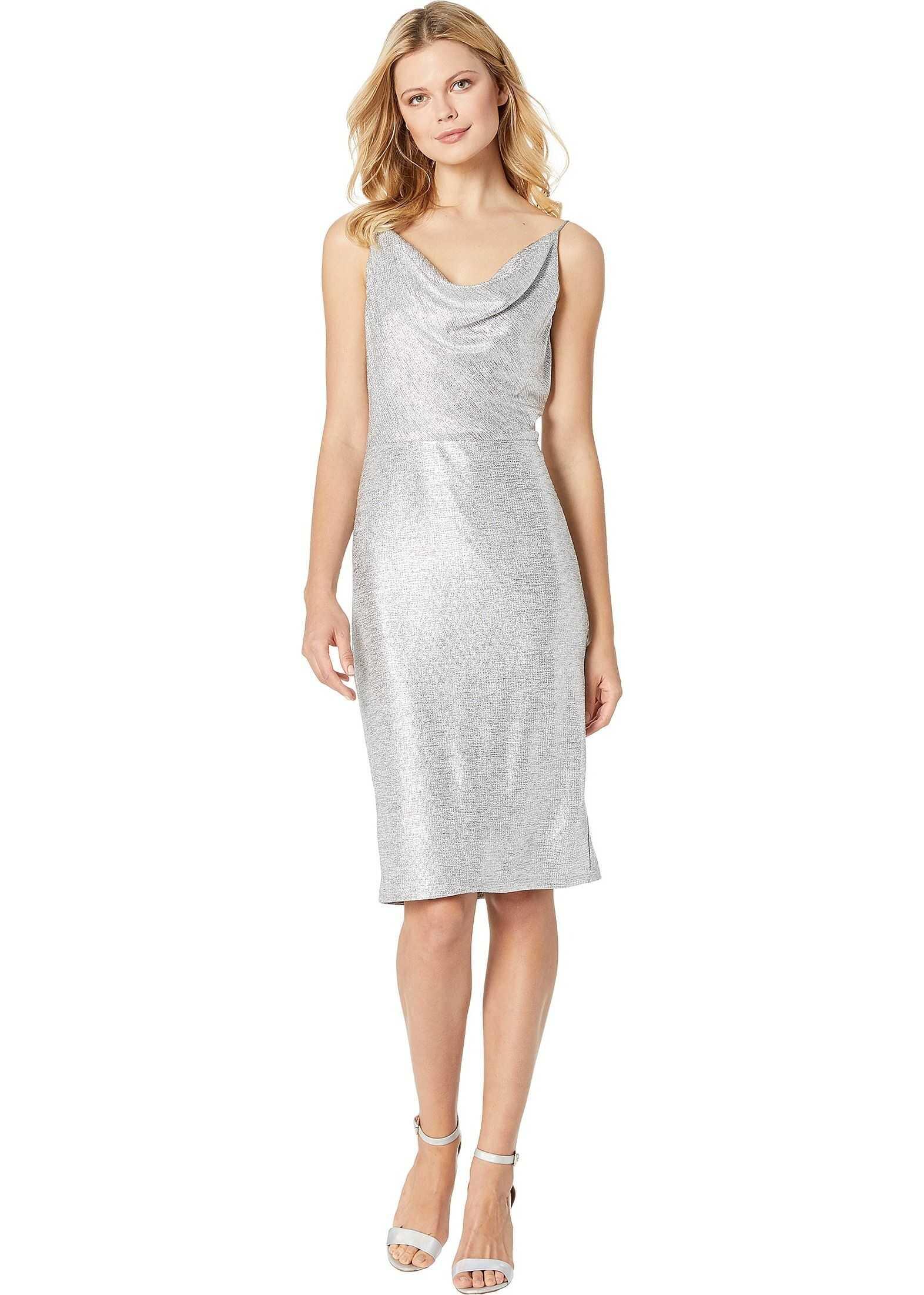 Adrianna Papell Halter Short Dress Silver