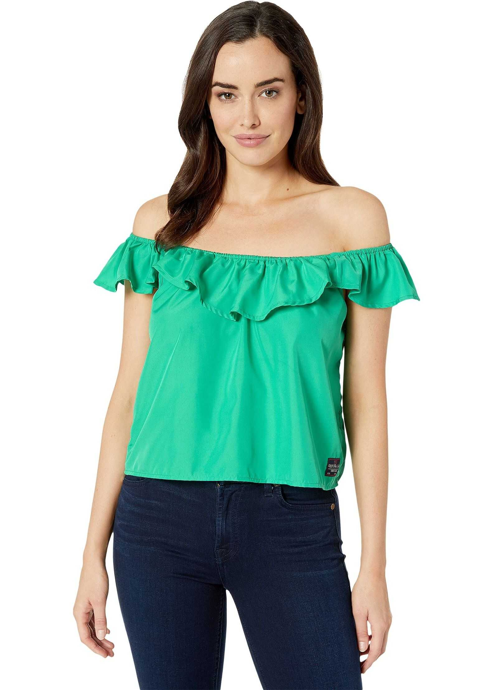 Solid Ruffle Woven Blouse